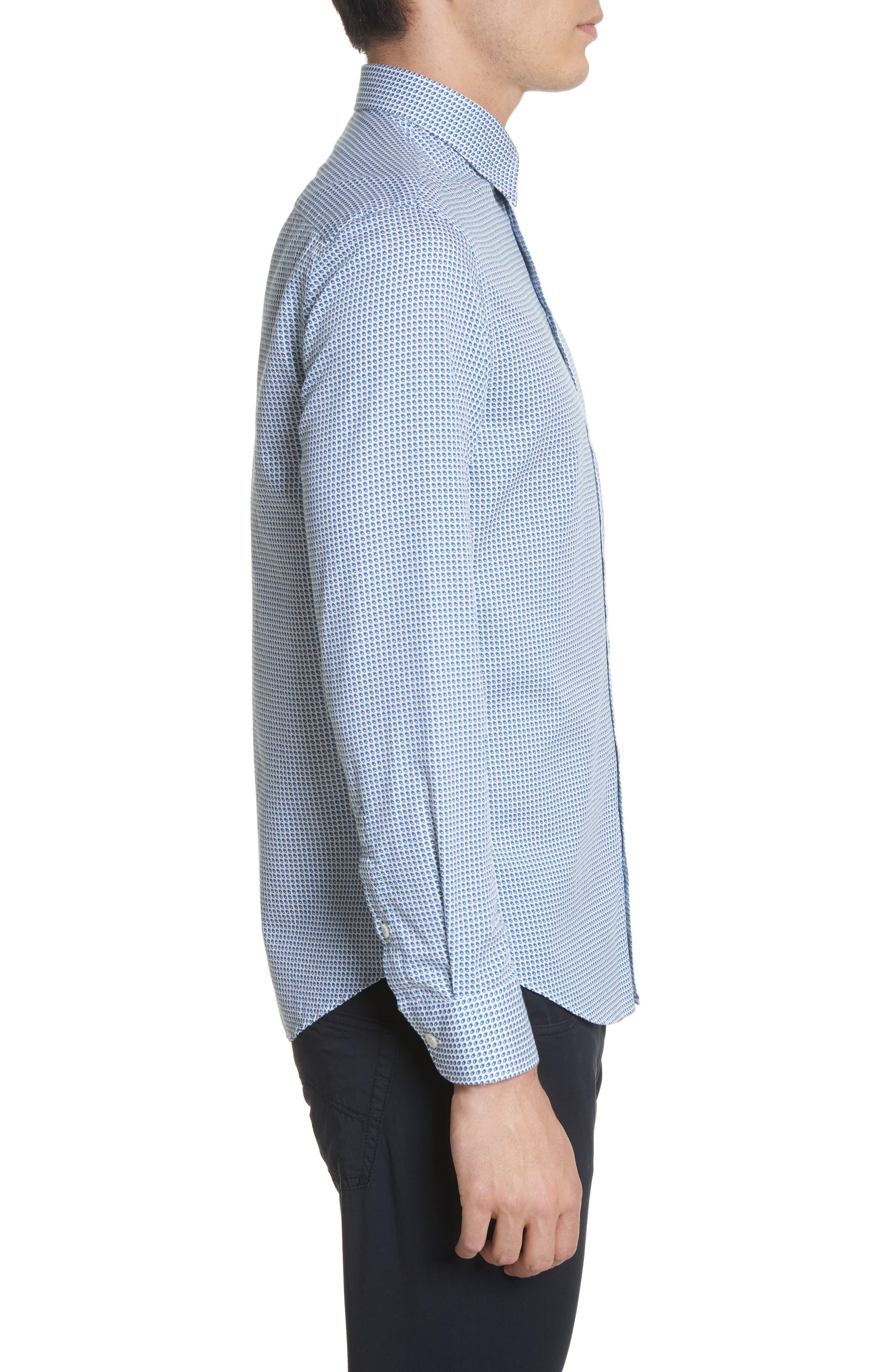 Geo Print Regular Fit Sport Shirt,                             Alternate thumbnail 3, color,                             Blue