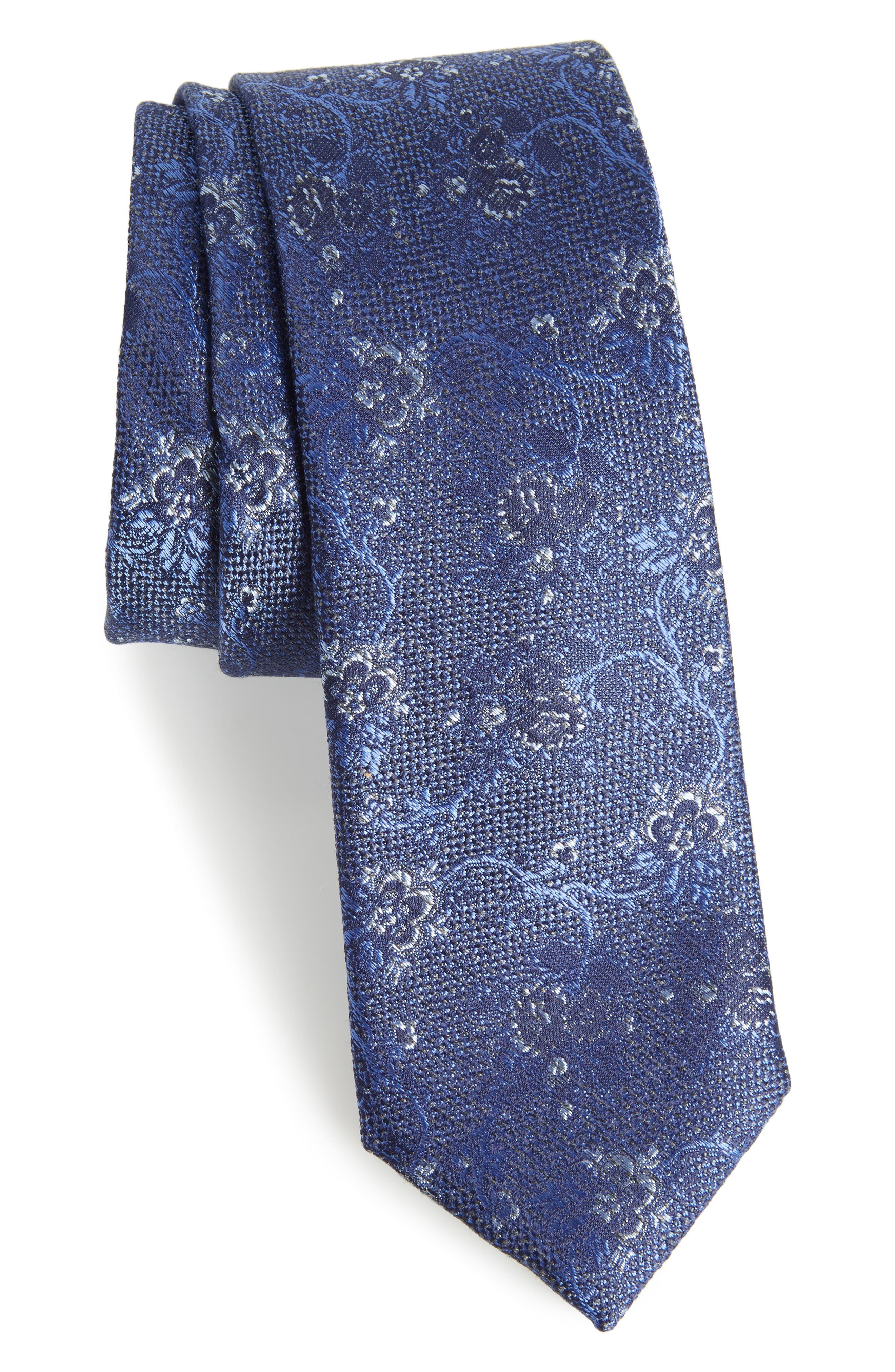 Jacquard Silk Blend Skinny Tie,                             Main thumbnail 1, color,                             Blue