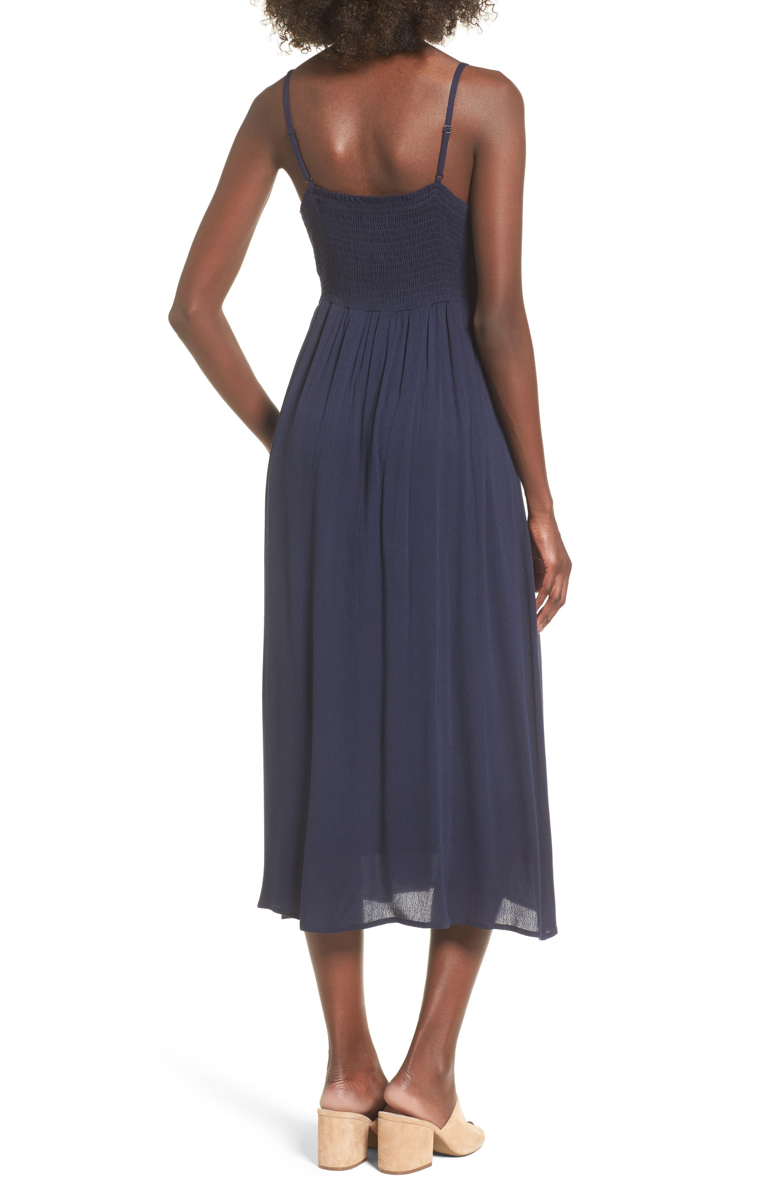 Tie Front Midi Dress,                             Alternate thumbnail 2, color,                             Navy