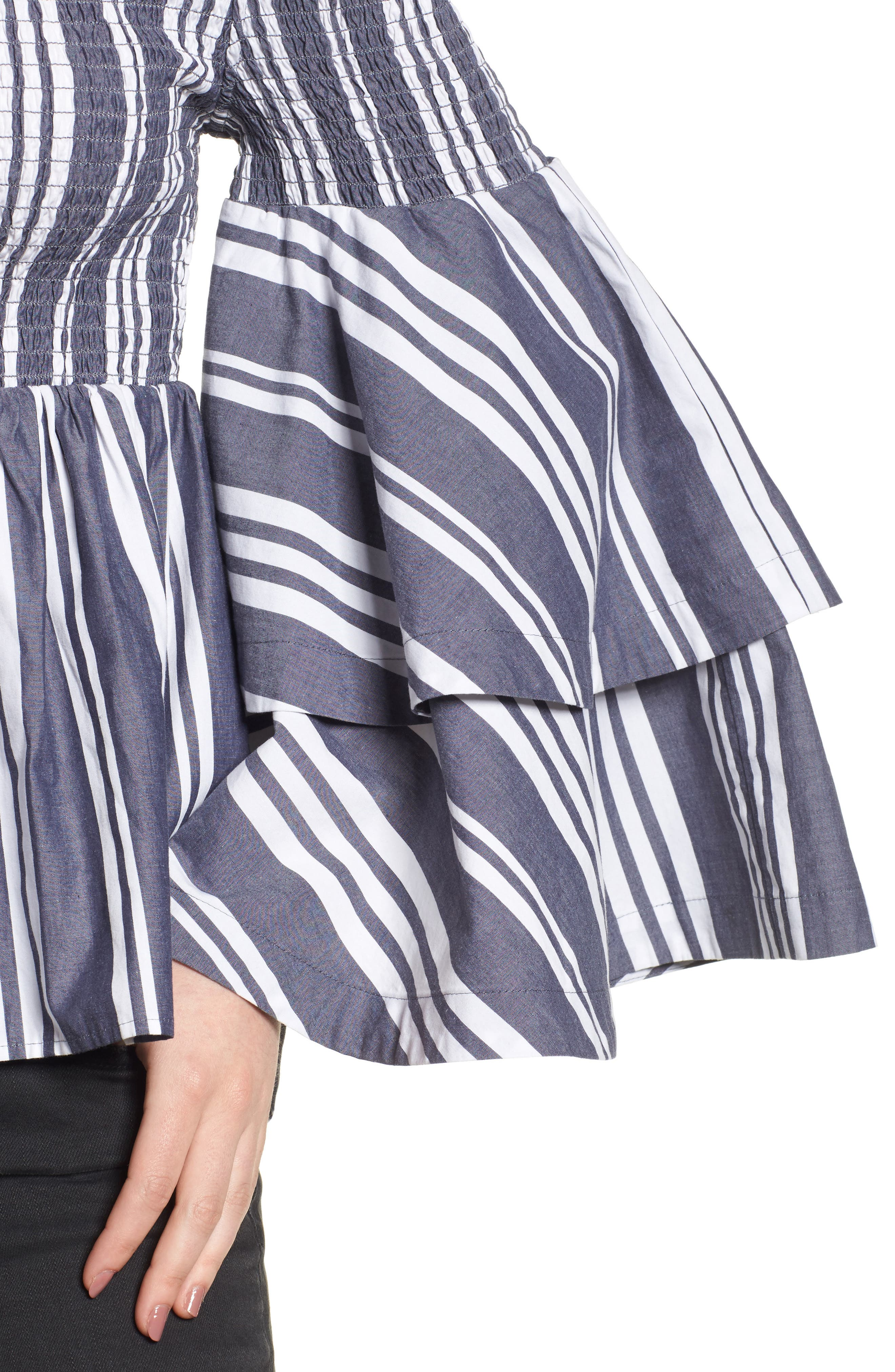 Ruffle Sleeve Off the Shoulder Top,                             Alternate thumbnail 4, color,                             Navy Peacoat Annie Stripe