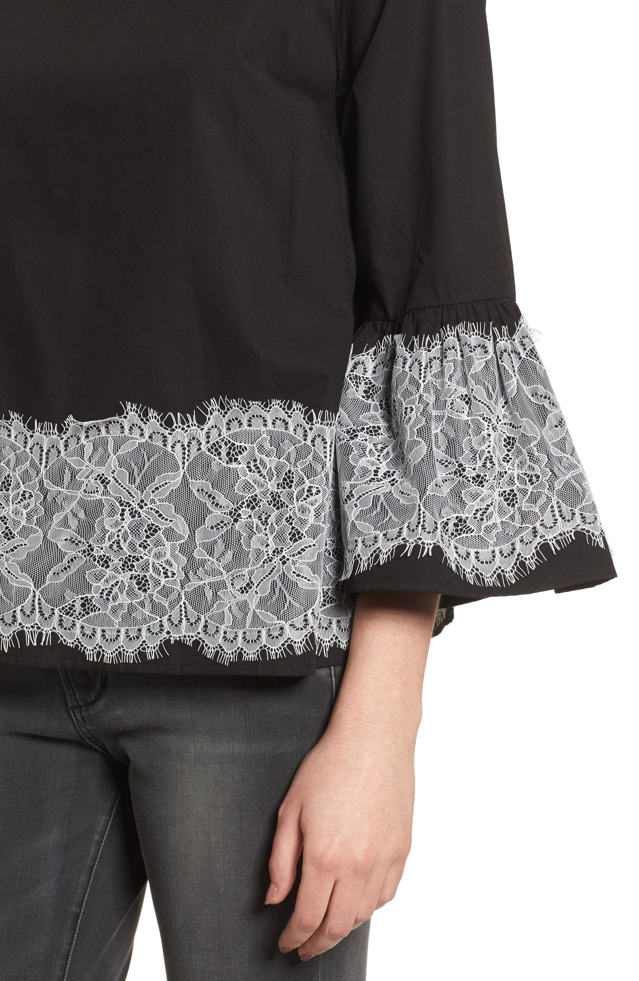 Alternate Image 4  - Cotton Emporium Lace Trim Top