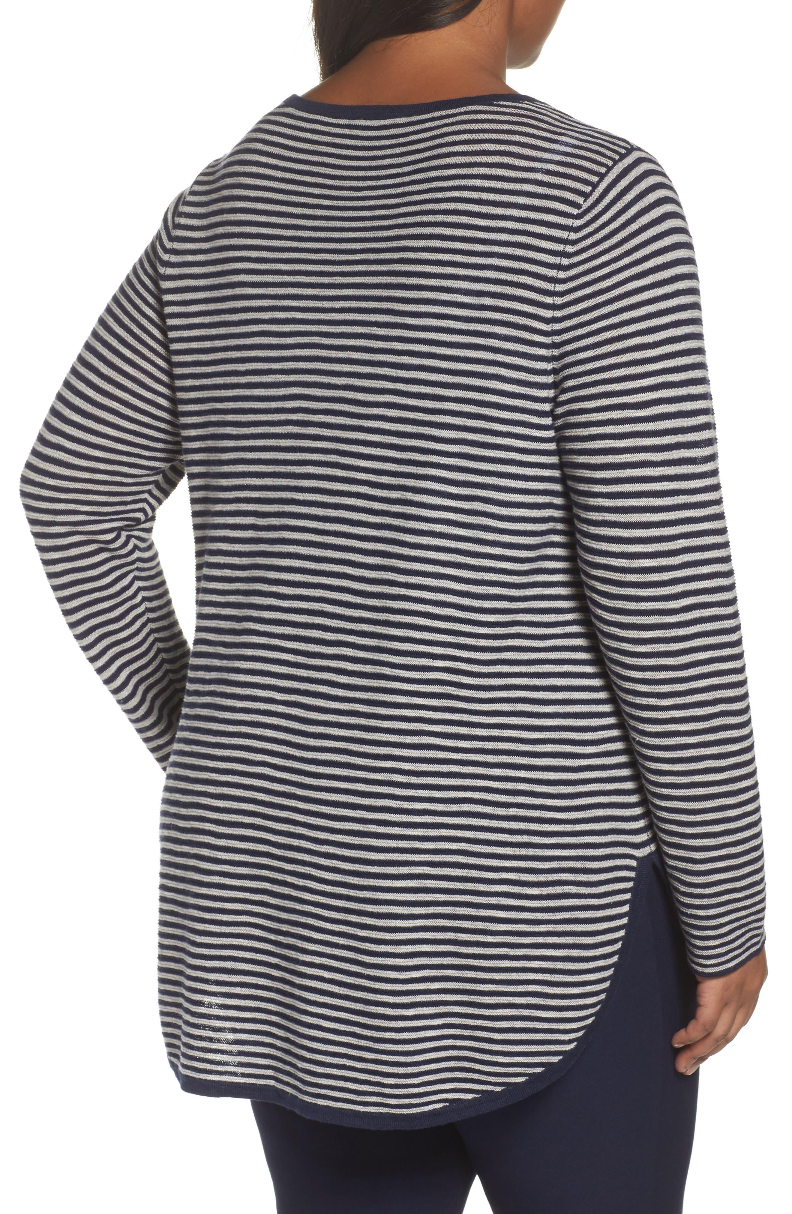 Alternate Image 2  - Eileen Fisher Stripe Organic Linen & Cotton Sweater (Plus Size)