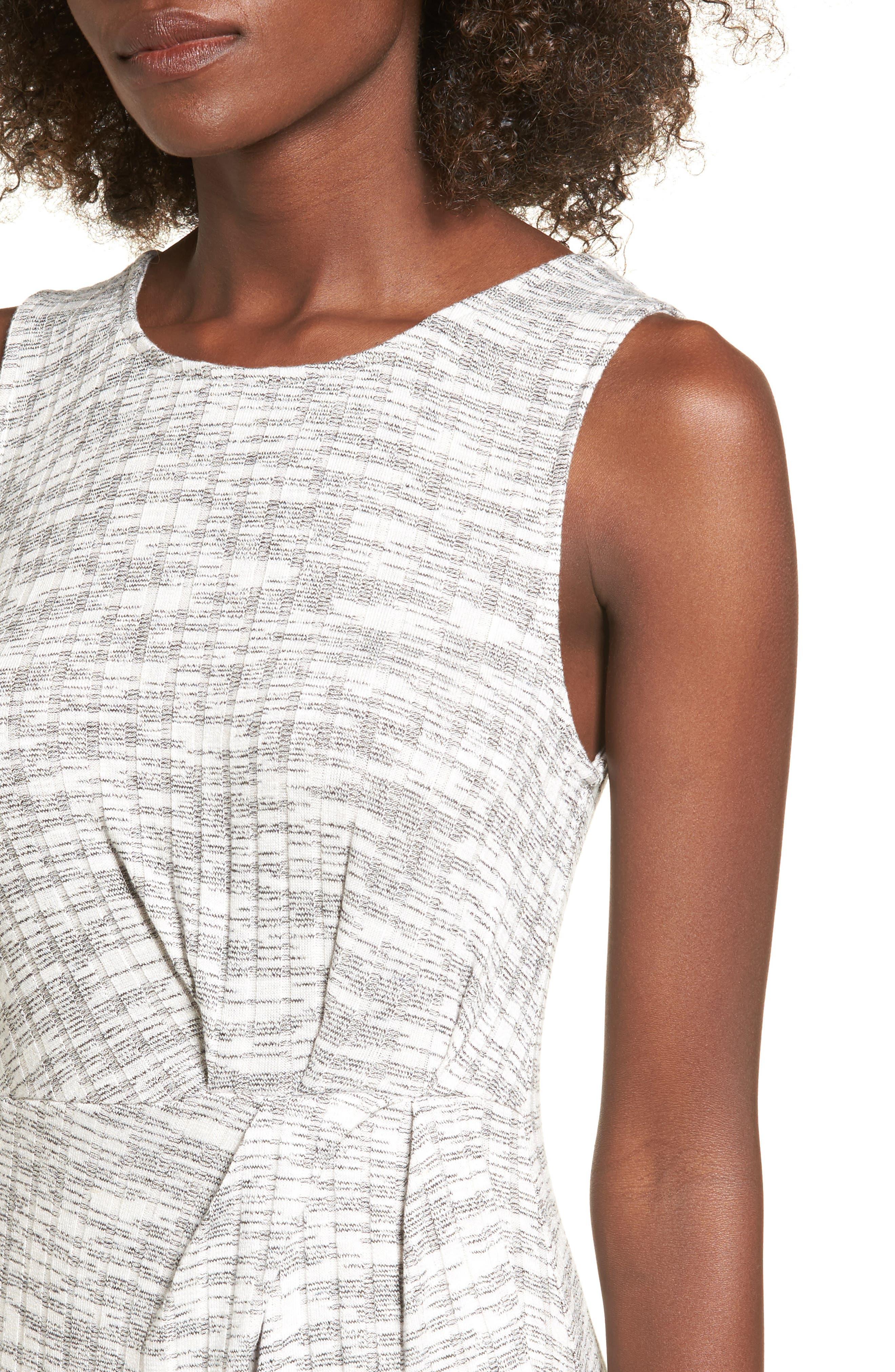 Gathered Waist Midi Dress,                             Alternate thumbnail 4, color,                             Grey Medium Heather