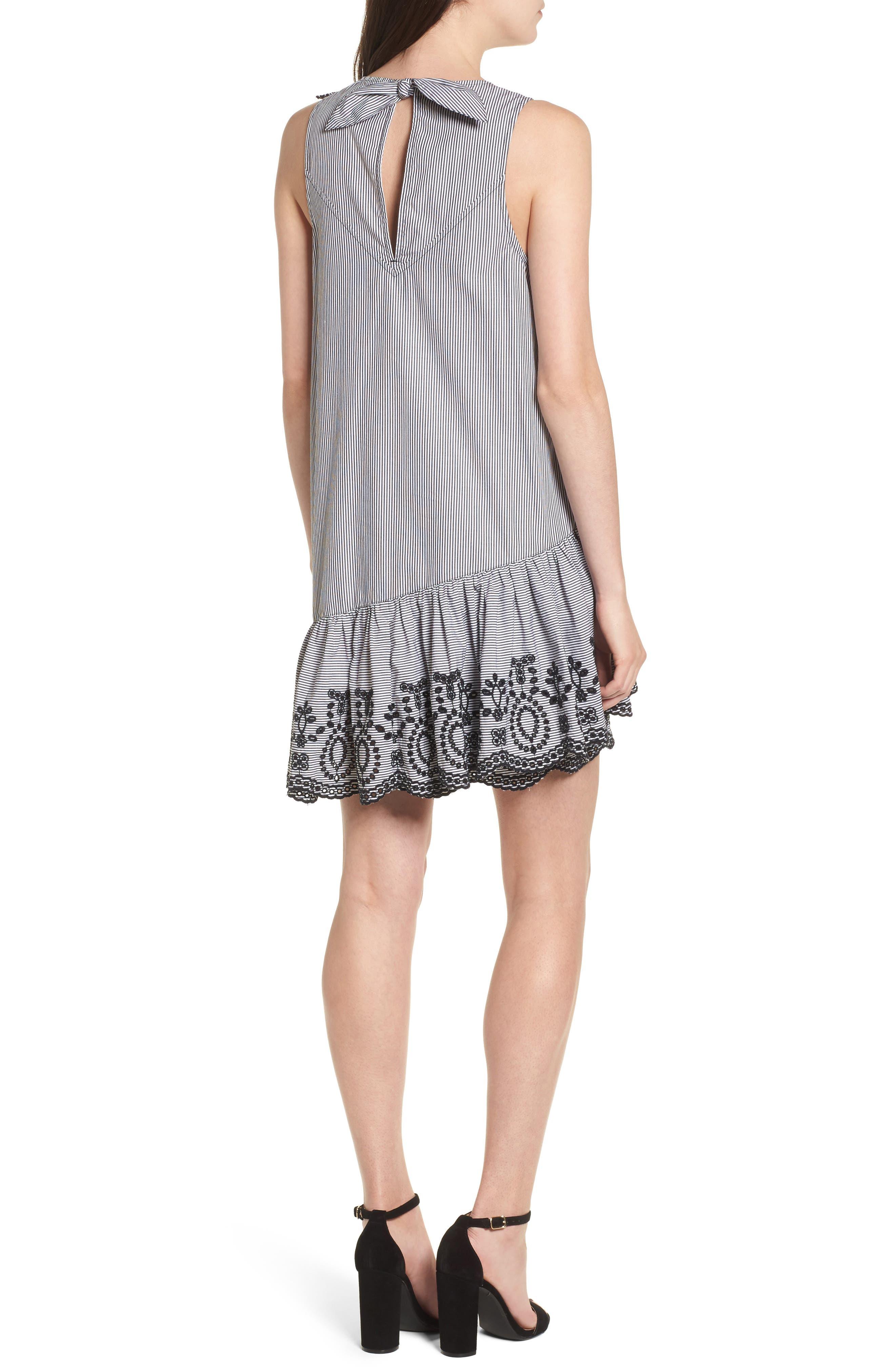 Lace Trim Drop Waist Dress,                             Alternate thumbnail 2, color,                             Black Jenny Stripe