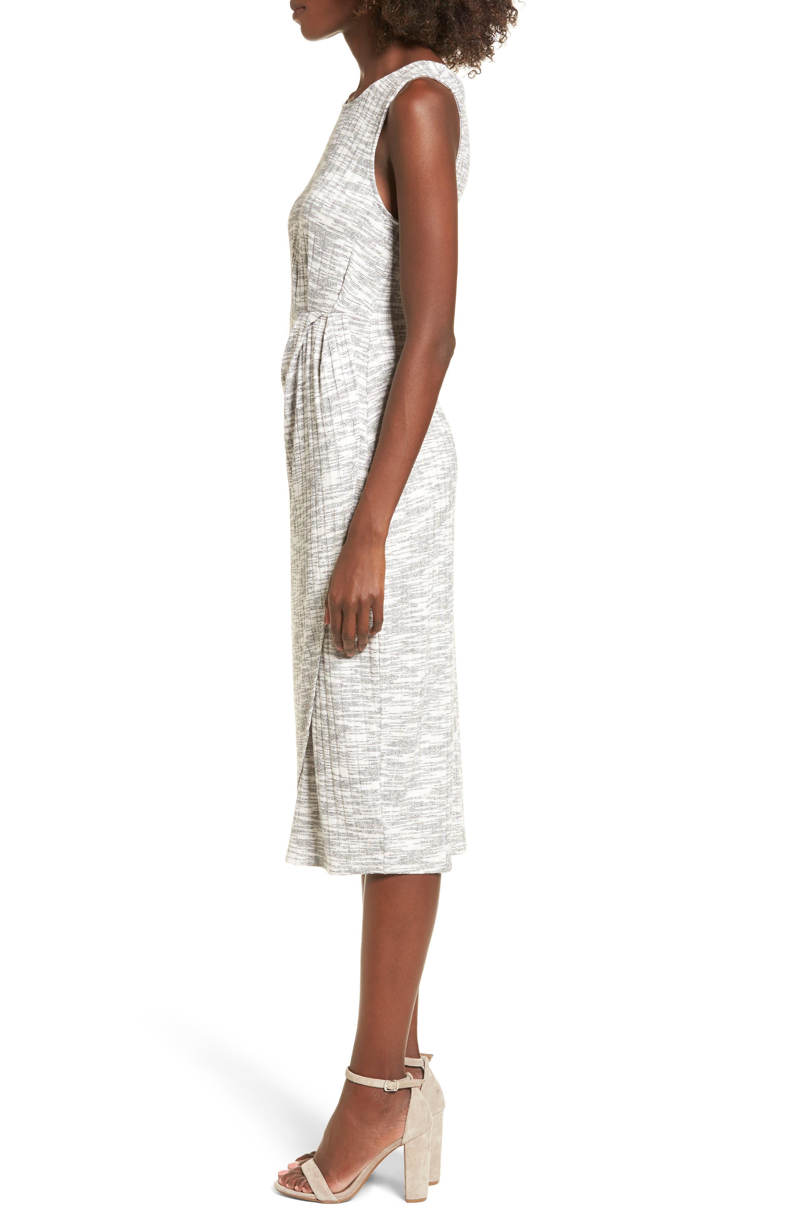 Gathered Waist Midi Dress,                             Alternate thumbnail 3, color,                             Grey Medium Heather