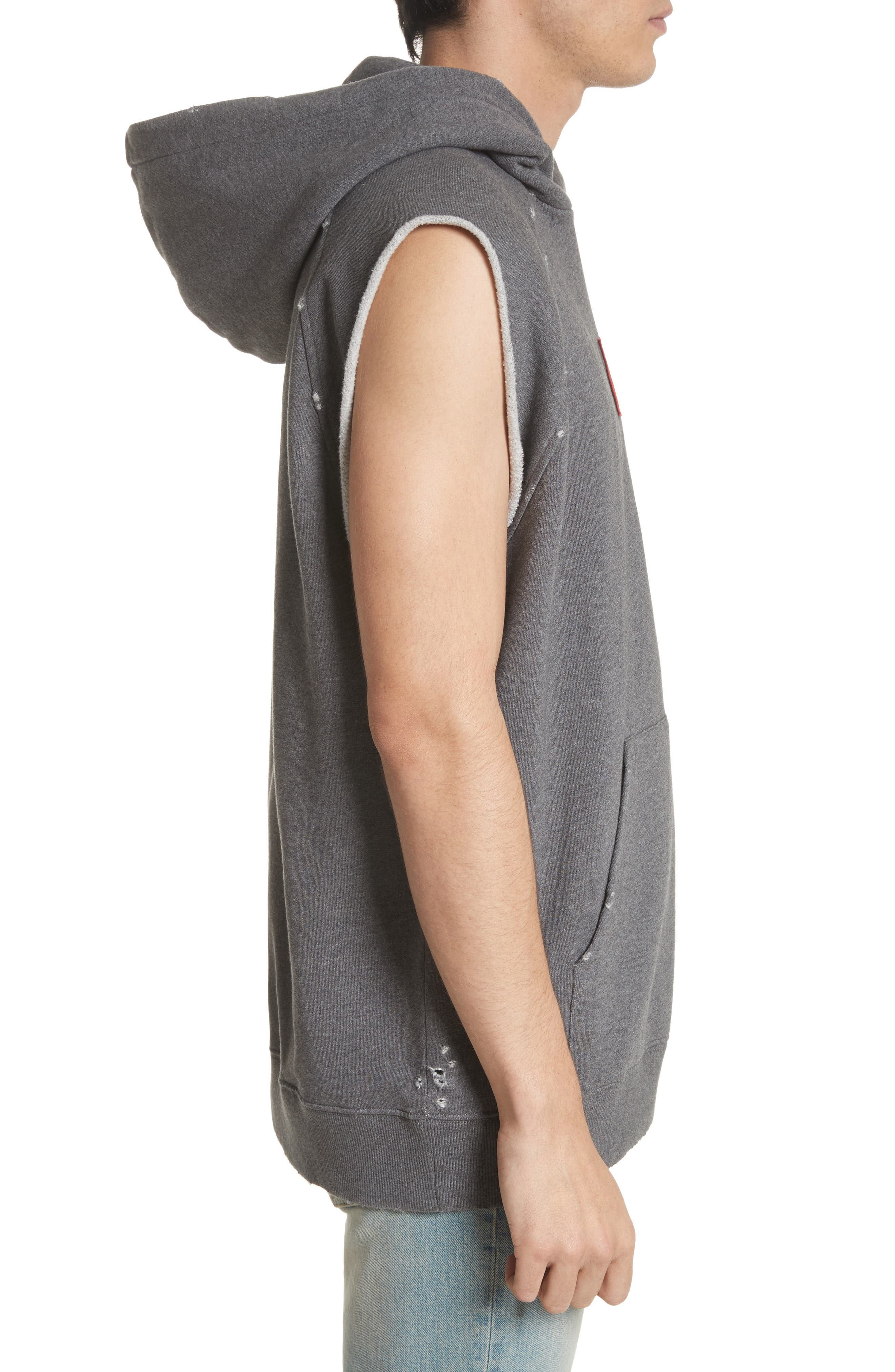 Small Logo Sleeveless Hoodie,                             Alternate thumbnail 3, color,                             Grey