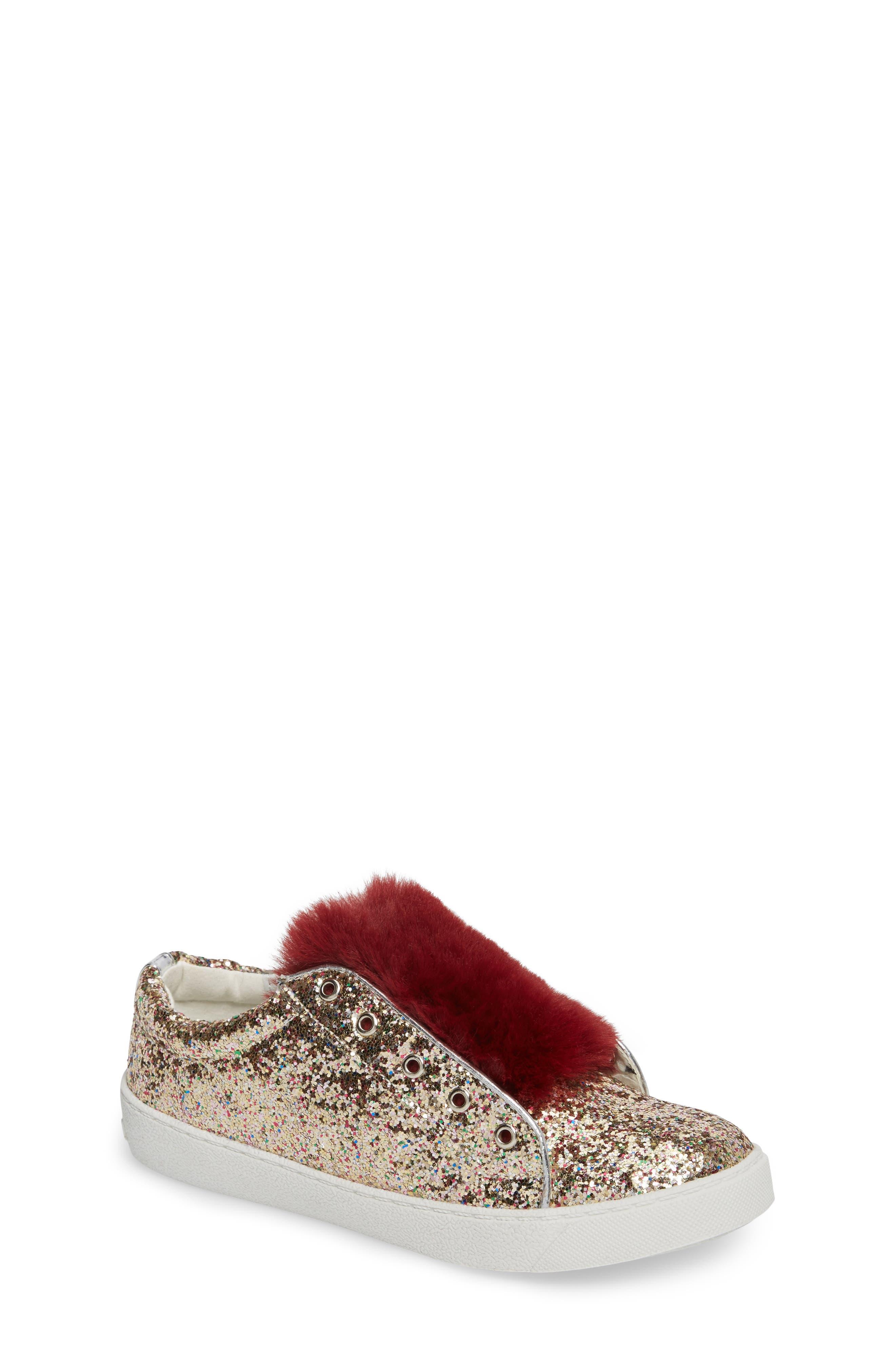 Main Image - Sam Edelman Britt Rita Faux Fur Glitter Sneaker (Toddler, Little Kid & Big Kid)