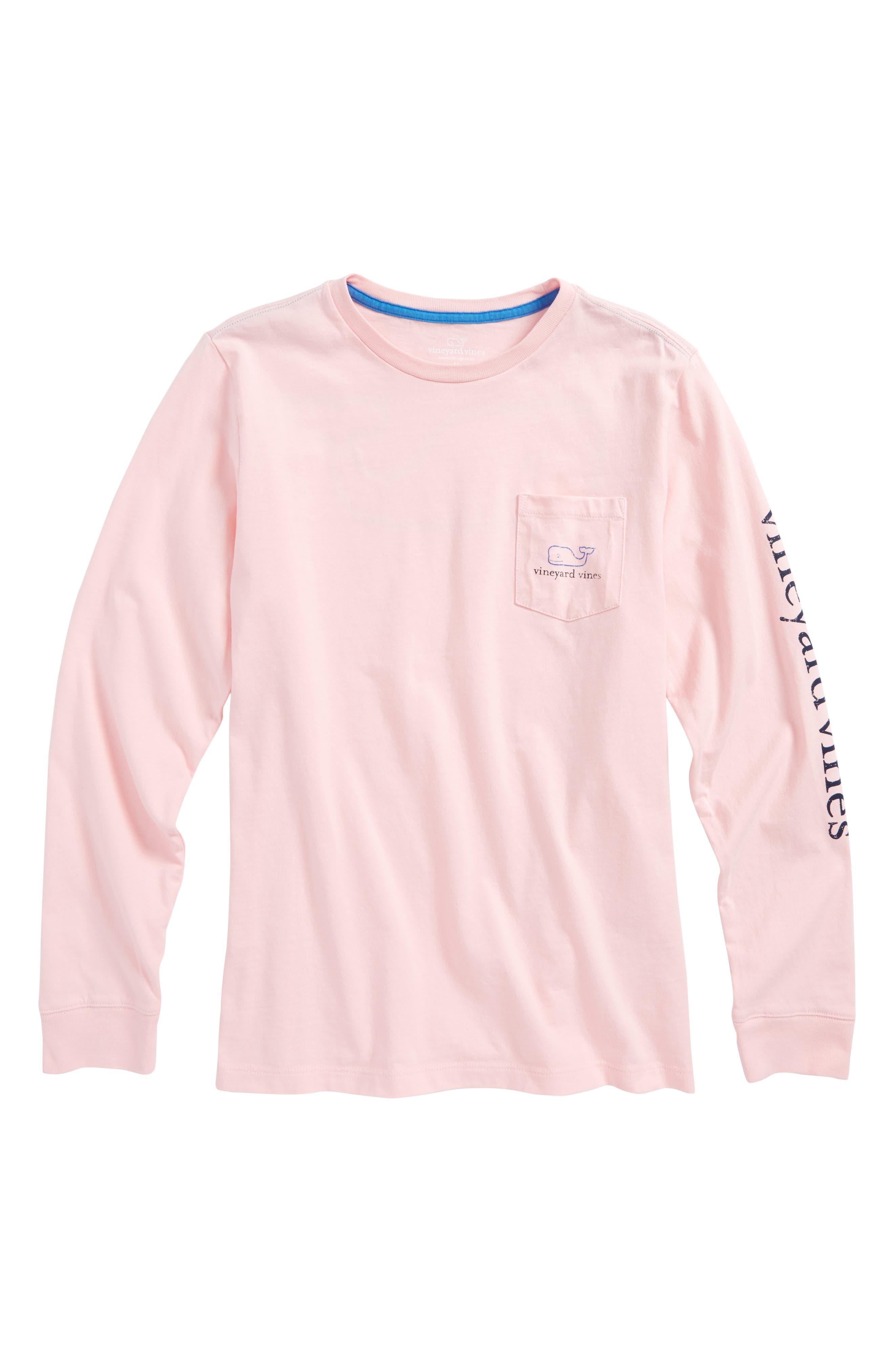 Vintage Whale Long Sleeve Pocket T-Shirt,                         Main,                         color, Flamingo