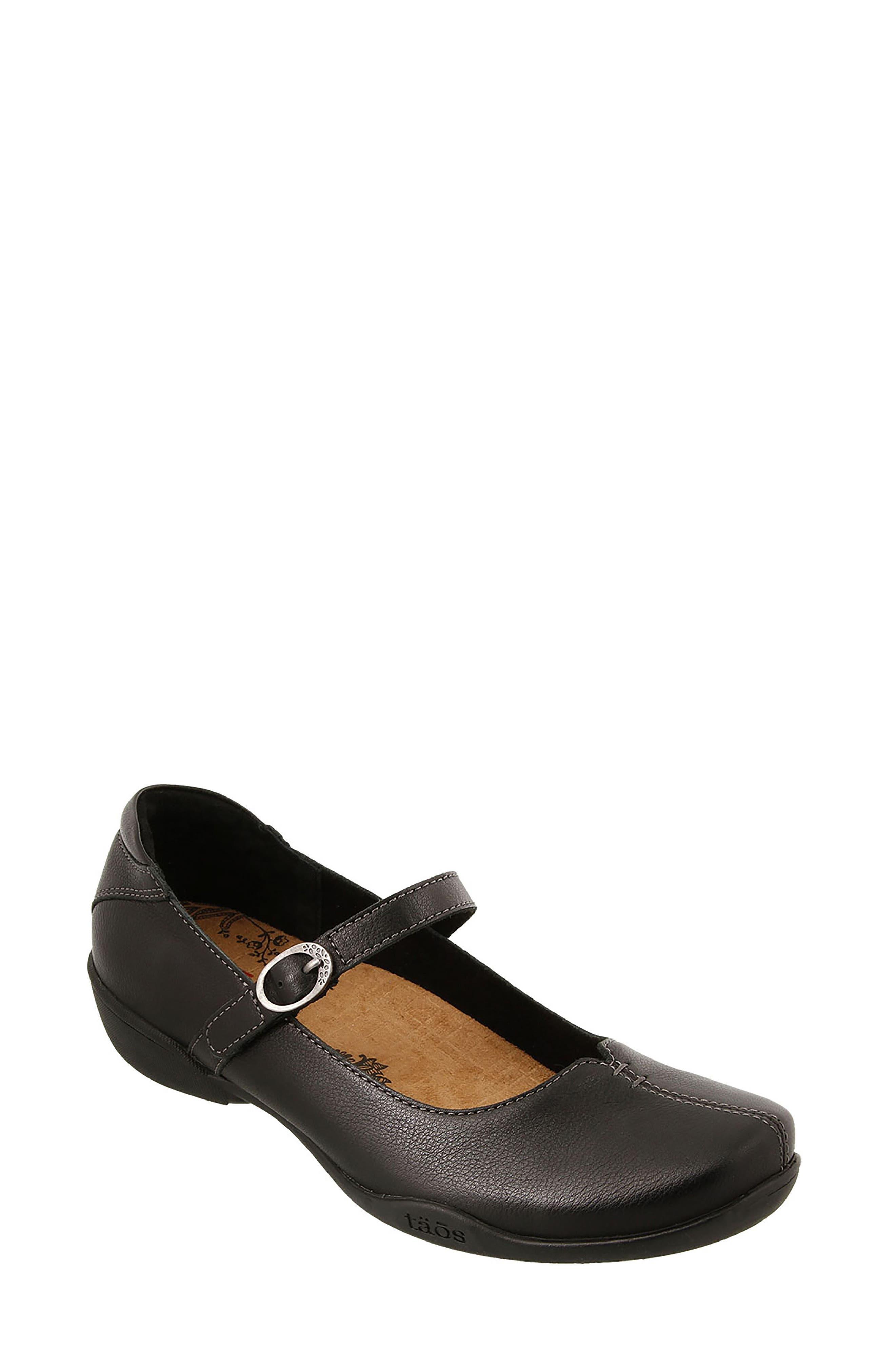 Ta Dah Mary Jane Flat,                         Main,                         color, Black Leather