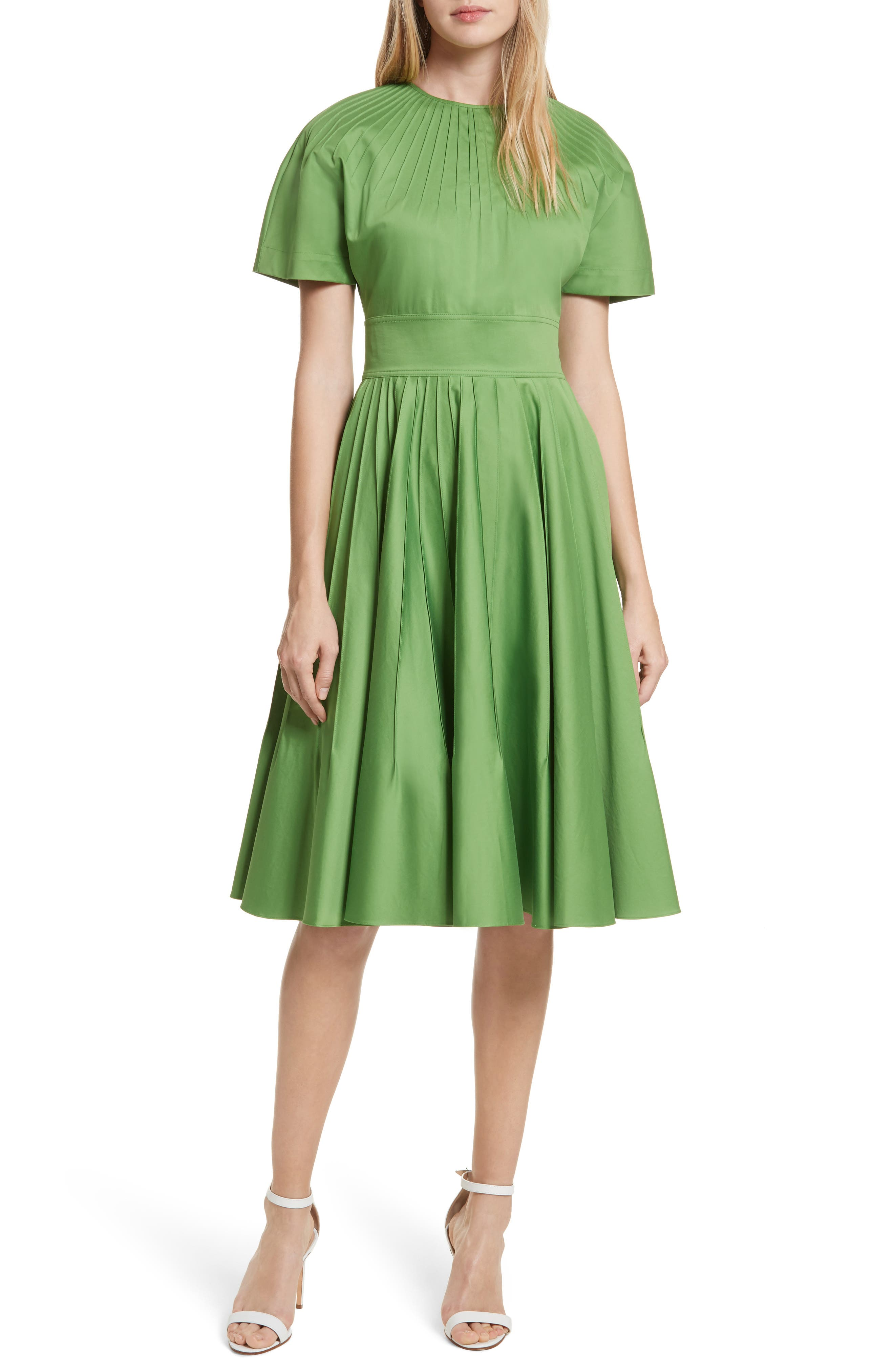 Diane von Furstenberg Pintuck Dress,                             Main thumbnail 1, color,                             Grass