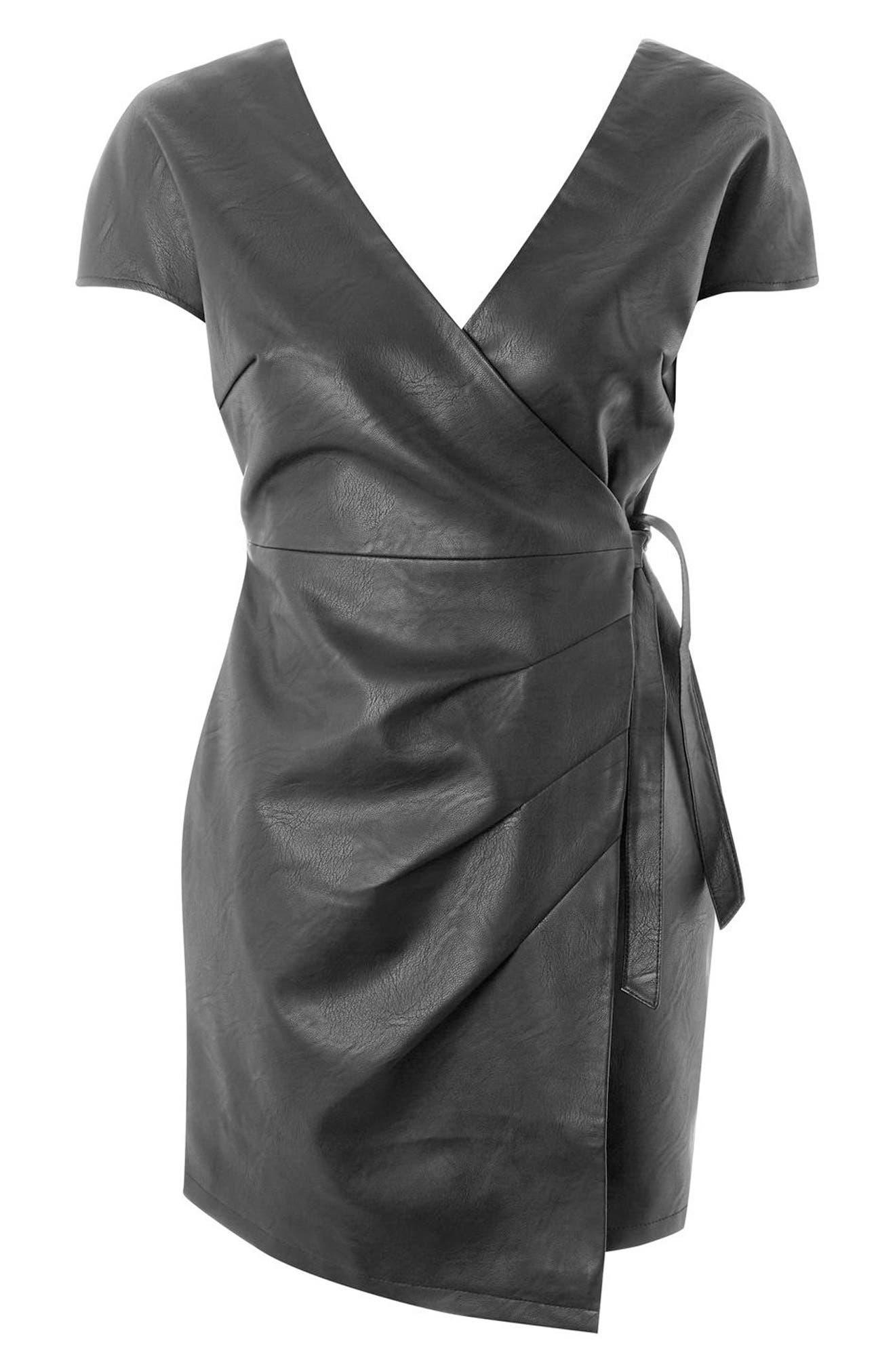 Faux Leather Wrap Dress,                             Alternate thumbnail 4, color,                             Black