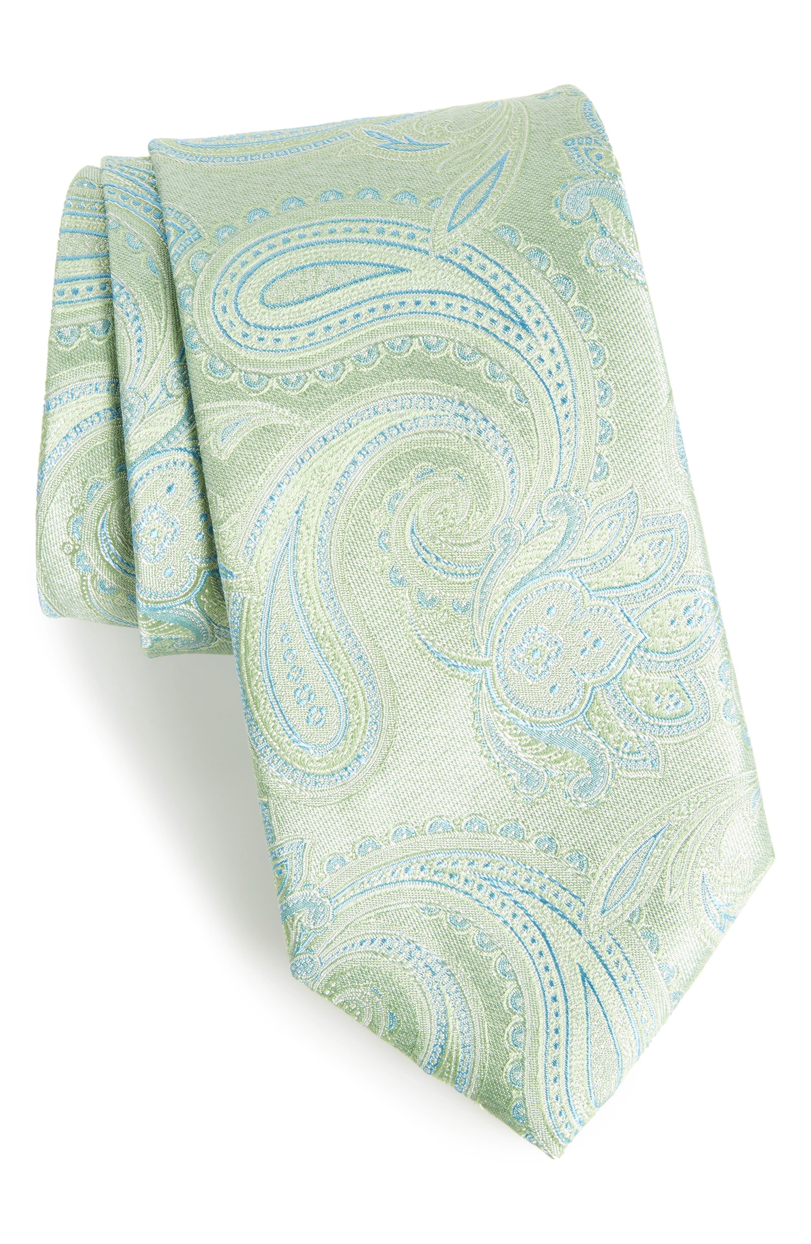 Barga Paisley Silk Tie,                         Main,                         color, Green