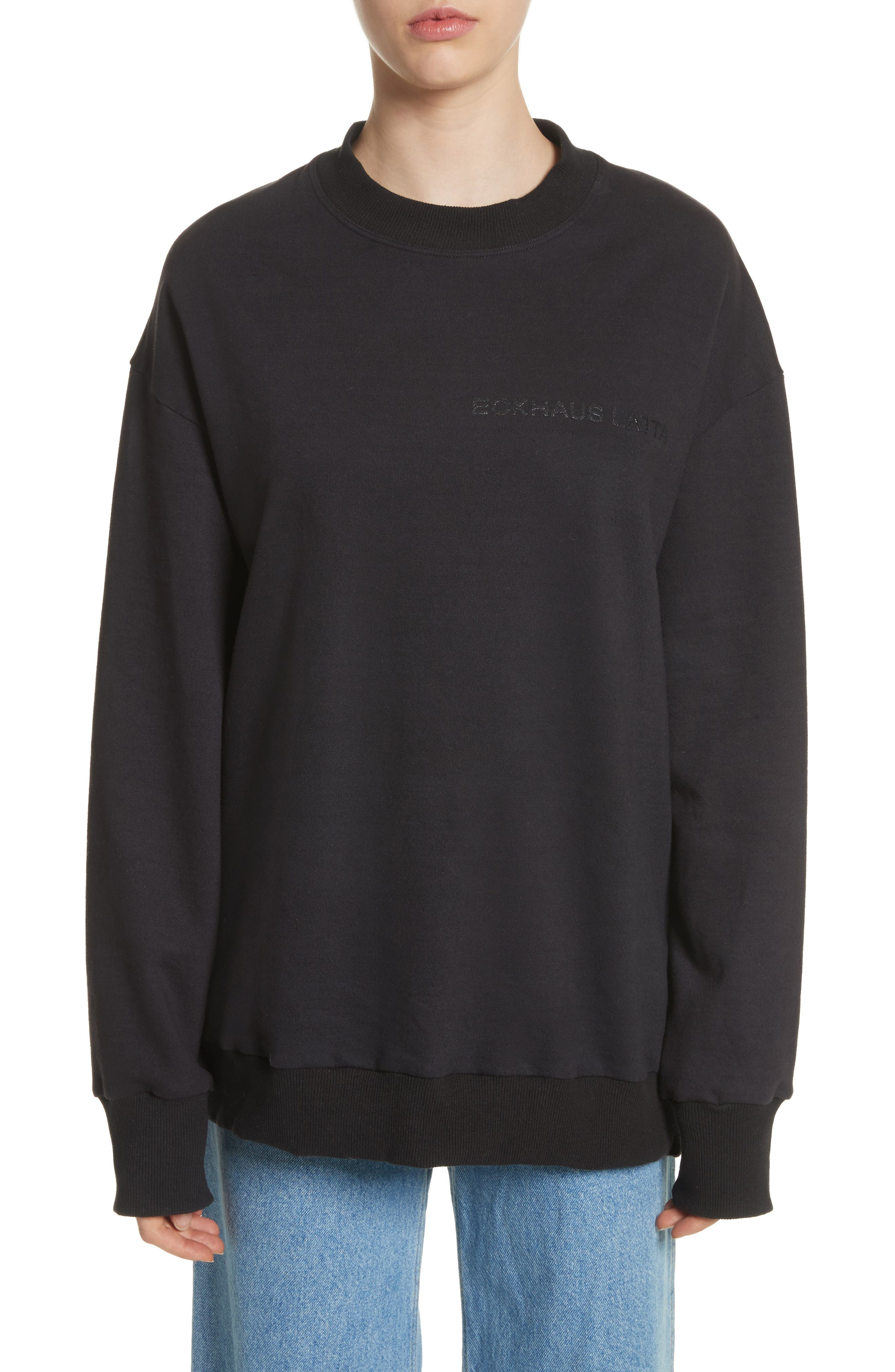 Relaxed Fit Sweatshirt,                             Main thumbnail 1, color,                             Black
