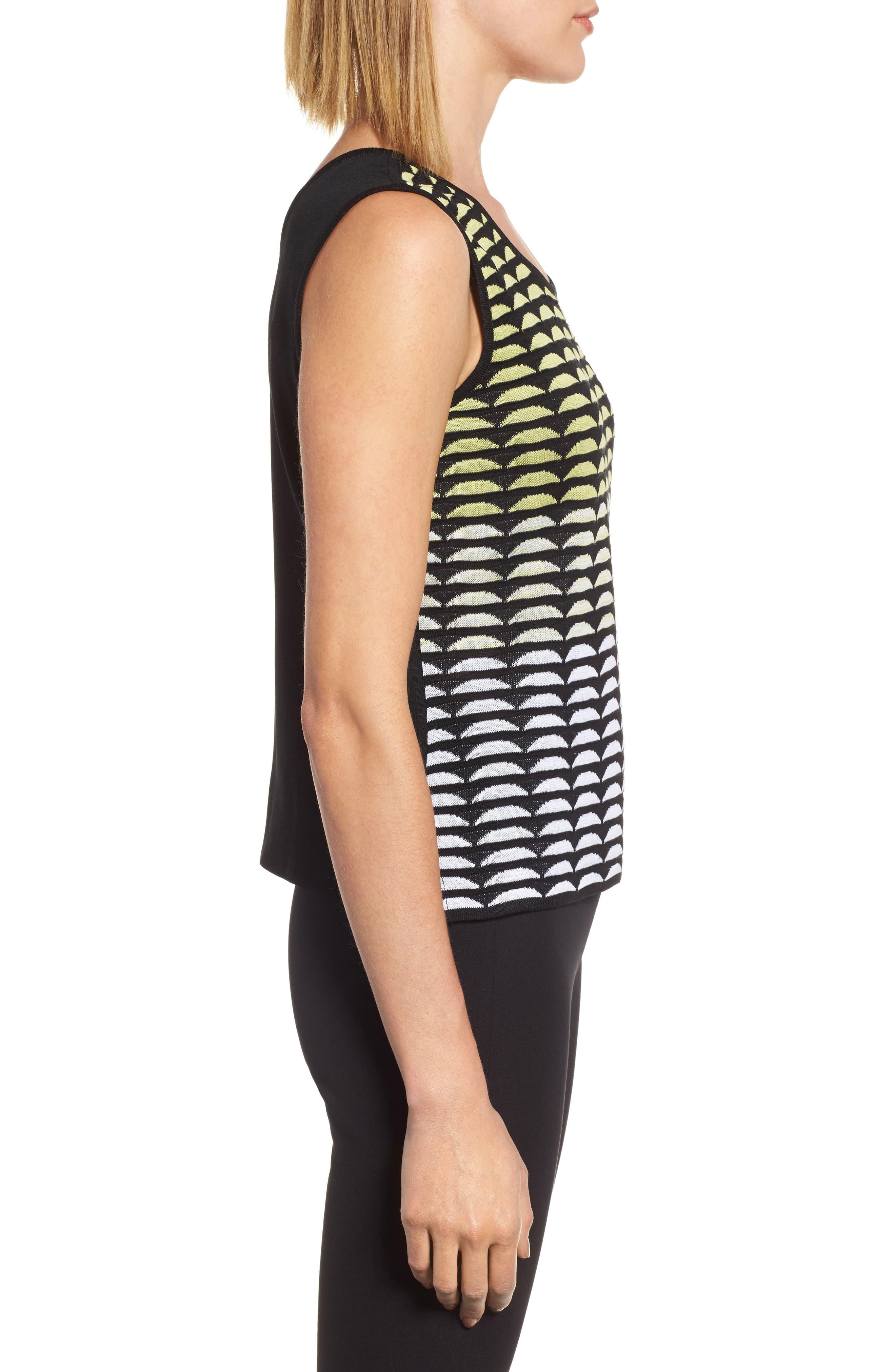 Reversible Scoop Neck Knit Tank,                             Alternate thumbnail 3, color,                             Aurora/ Black/ White