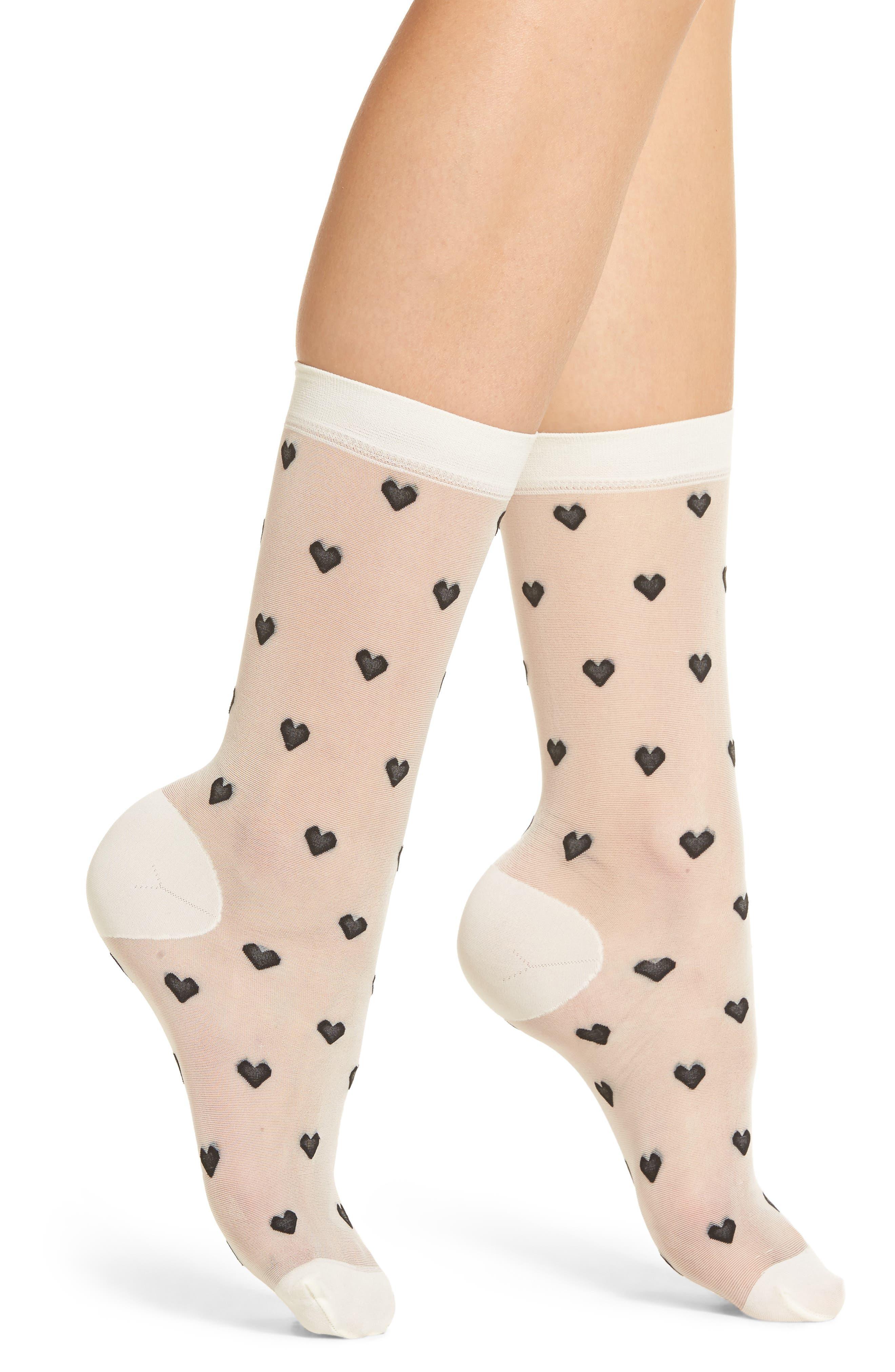 Nordstrom Heart Sheer Socks