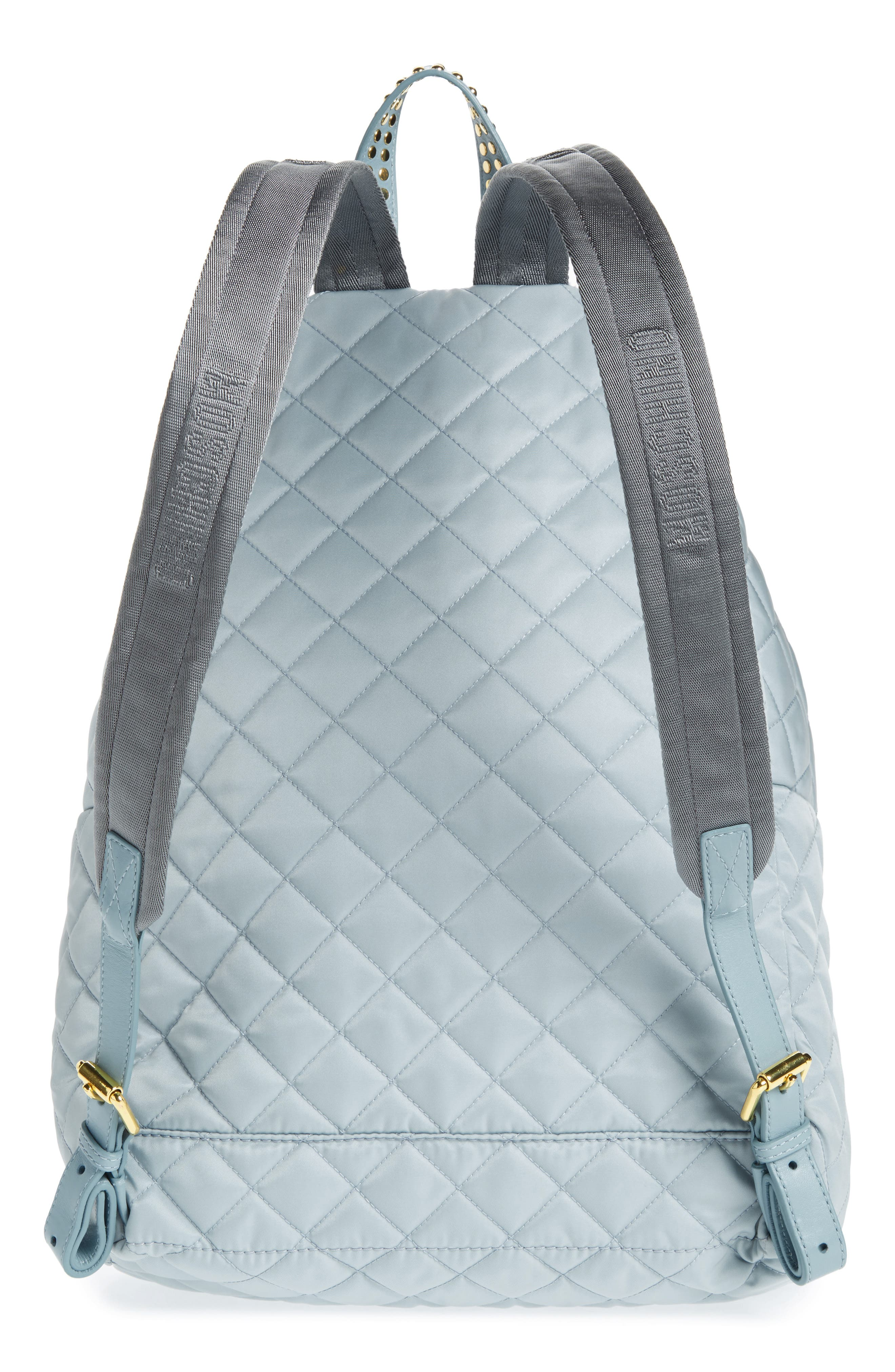 Studded Logo Quilted Nylon Backpack,                             Alternate thumbnail 3, color,                             Light Blue