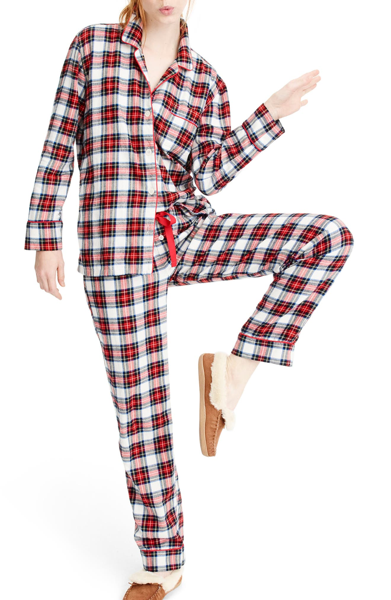 Whiteout Plaid Flannel Pajamas,                             Main thumbnail 1, color,                             Red Navy