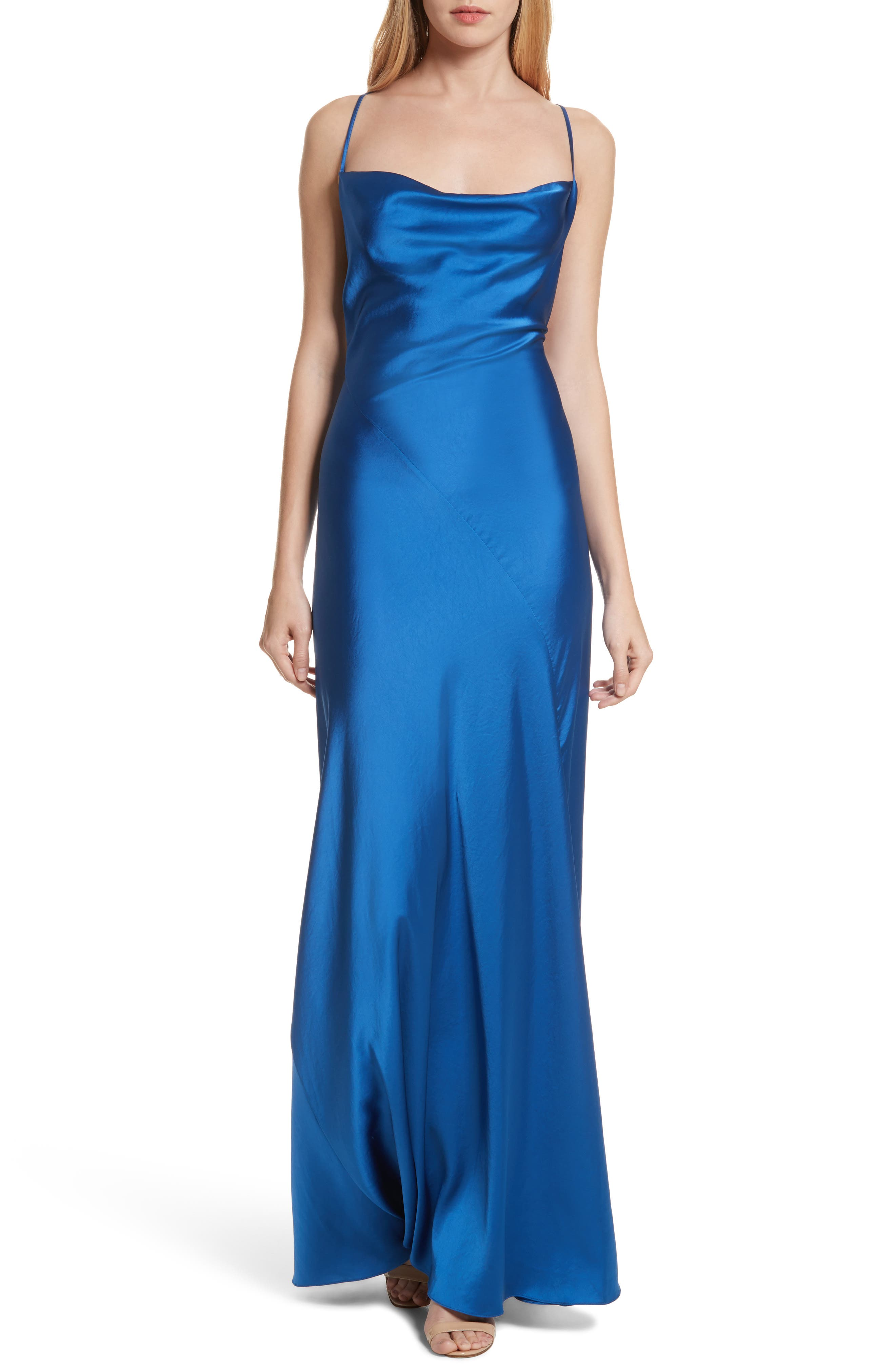 Diane von Furstenberg Open Back A-Line Gown,                         Main,                         color, Cove