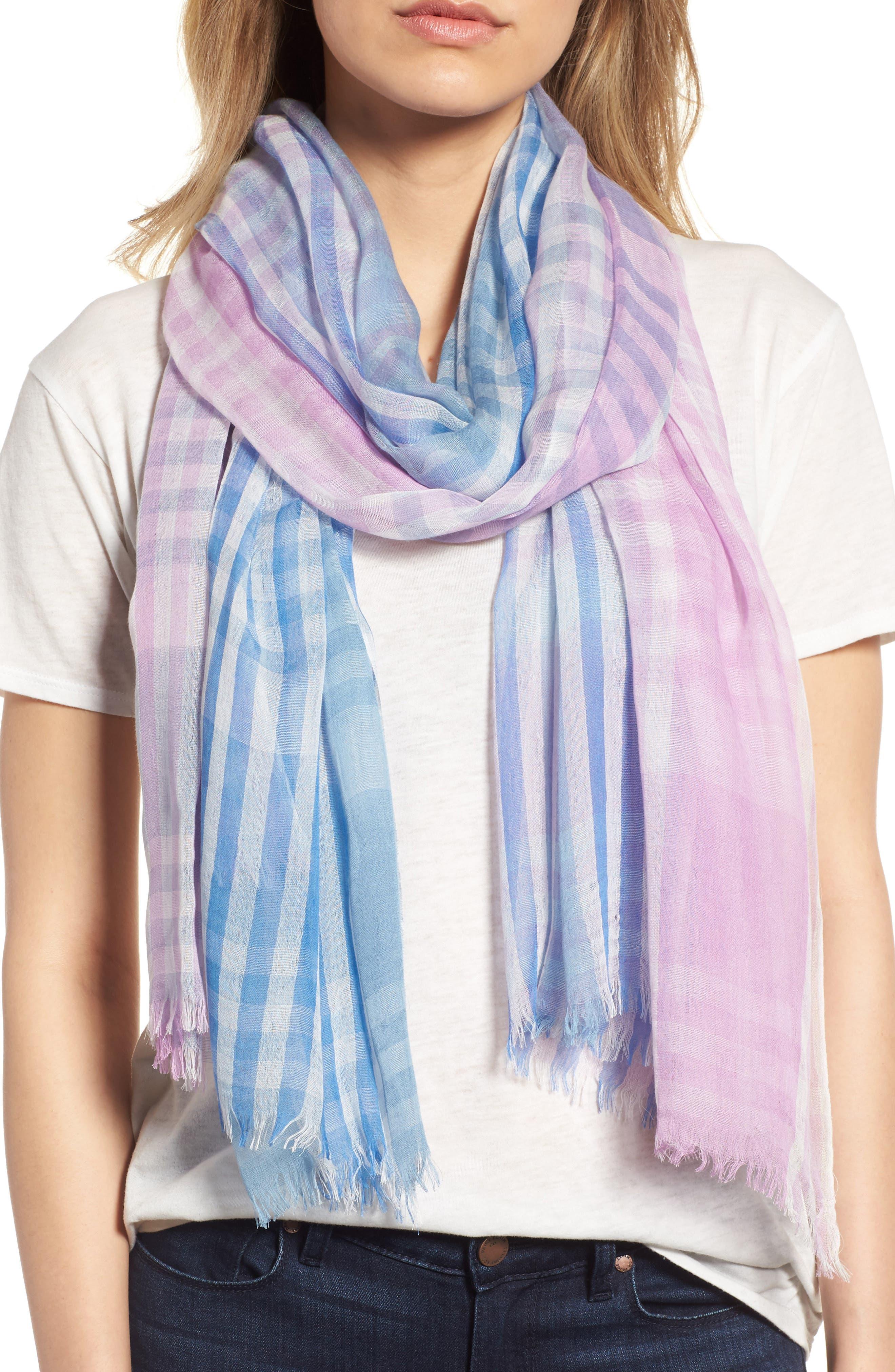 Yarn Dyed Stripe Wrap,                             Main thumbnail 1, color,                             Purple Combo Mini Check Wrap