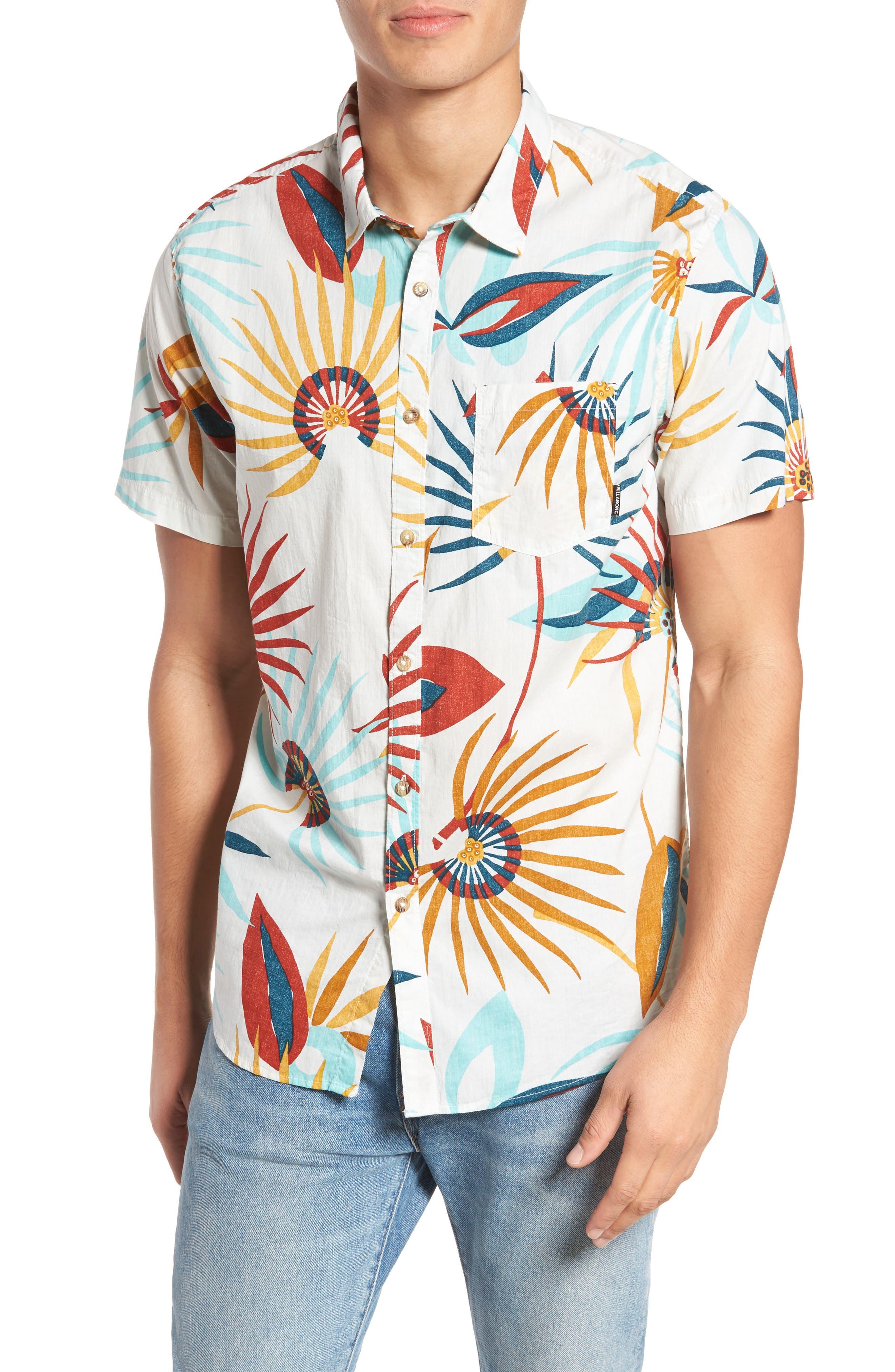 Sunday Floral Woven Shirt,                             Main thumbnail 1, color,                             Sand