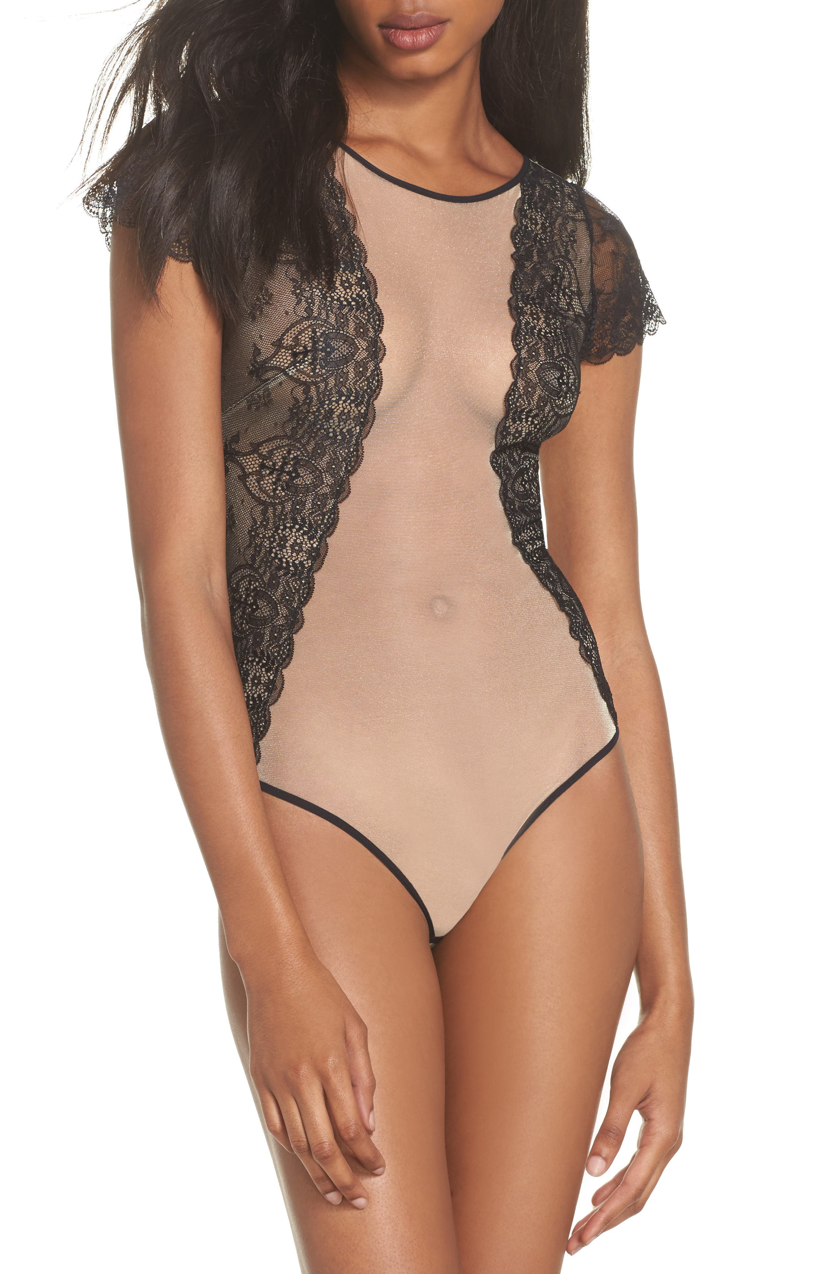 L'Antichambre Mesh & Lace Thong Bodysuit,                         Main,                         color, Black / Nude
