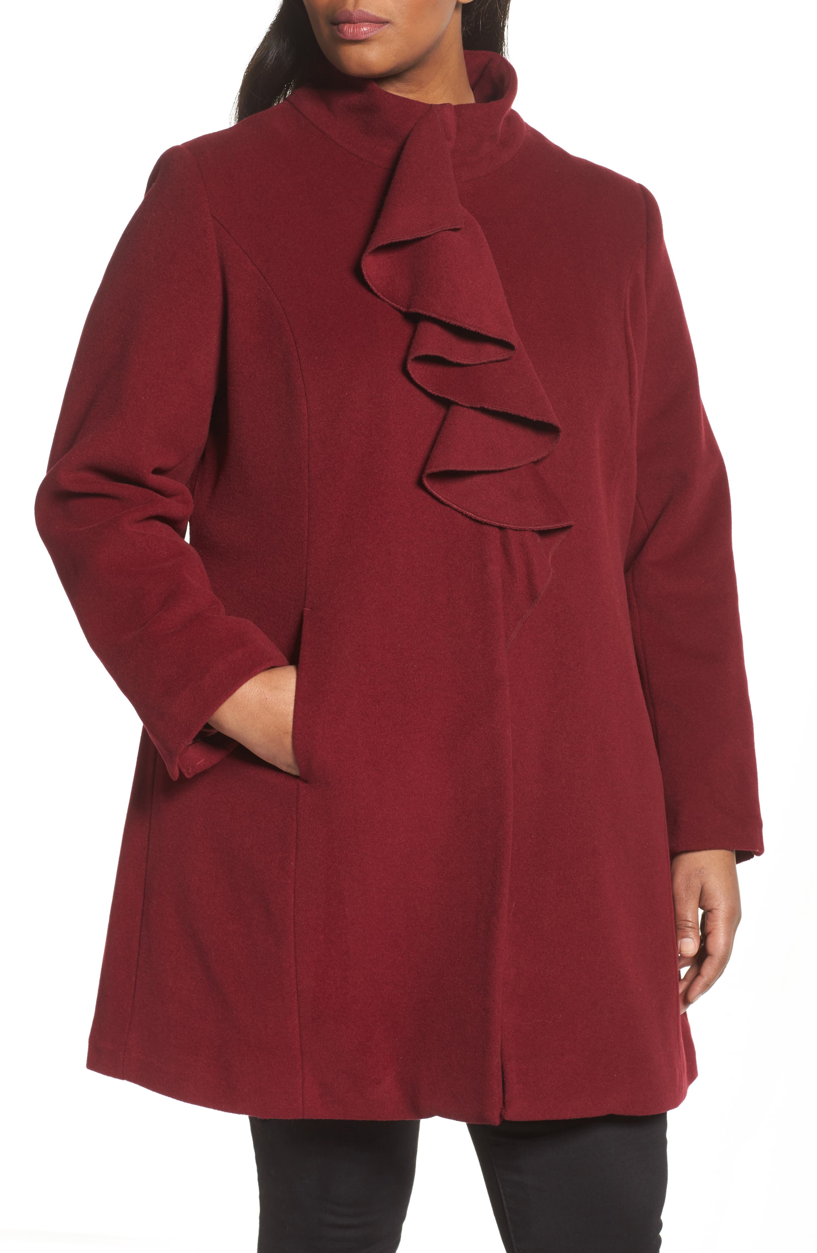 Kate Ruffle Wool Blend Coat,                             Alternate thumbnail 4, color,                             Berry