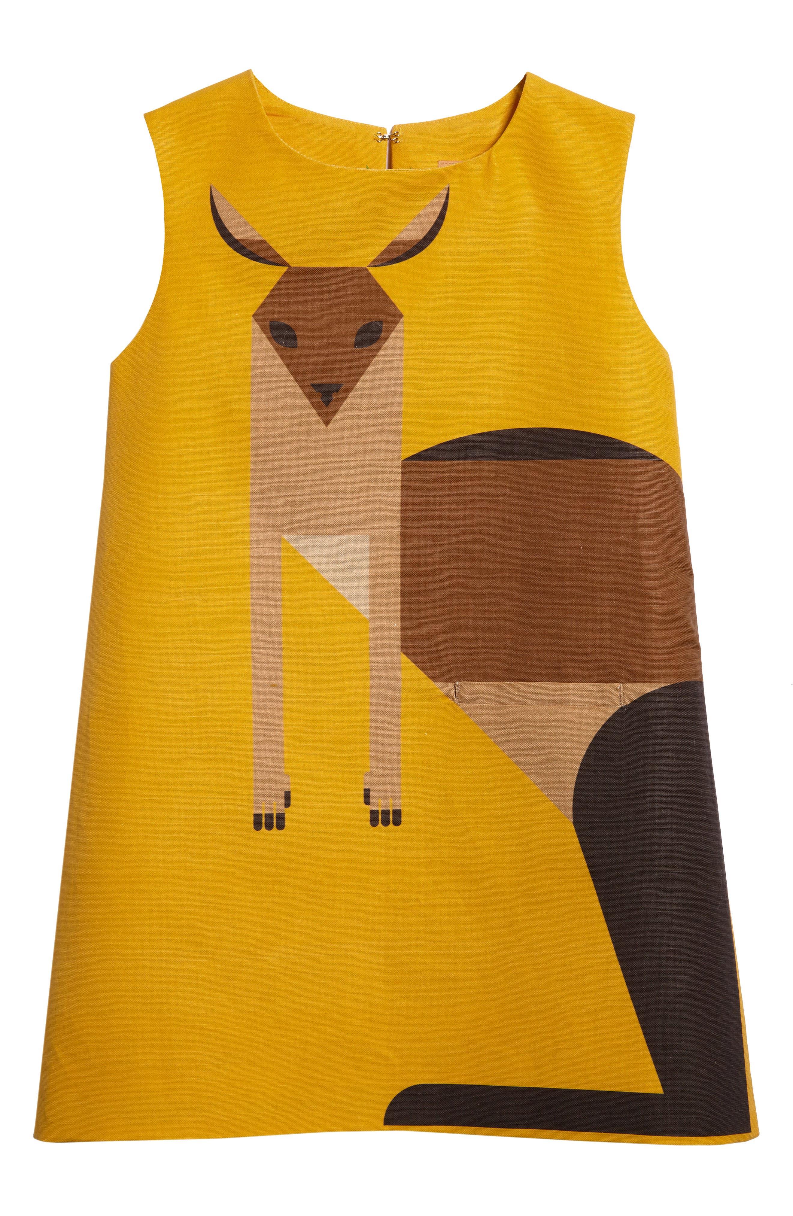 Kangaroo Shift Dress,                             Main thumbnail 1, color,                             Marigold