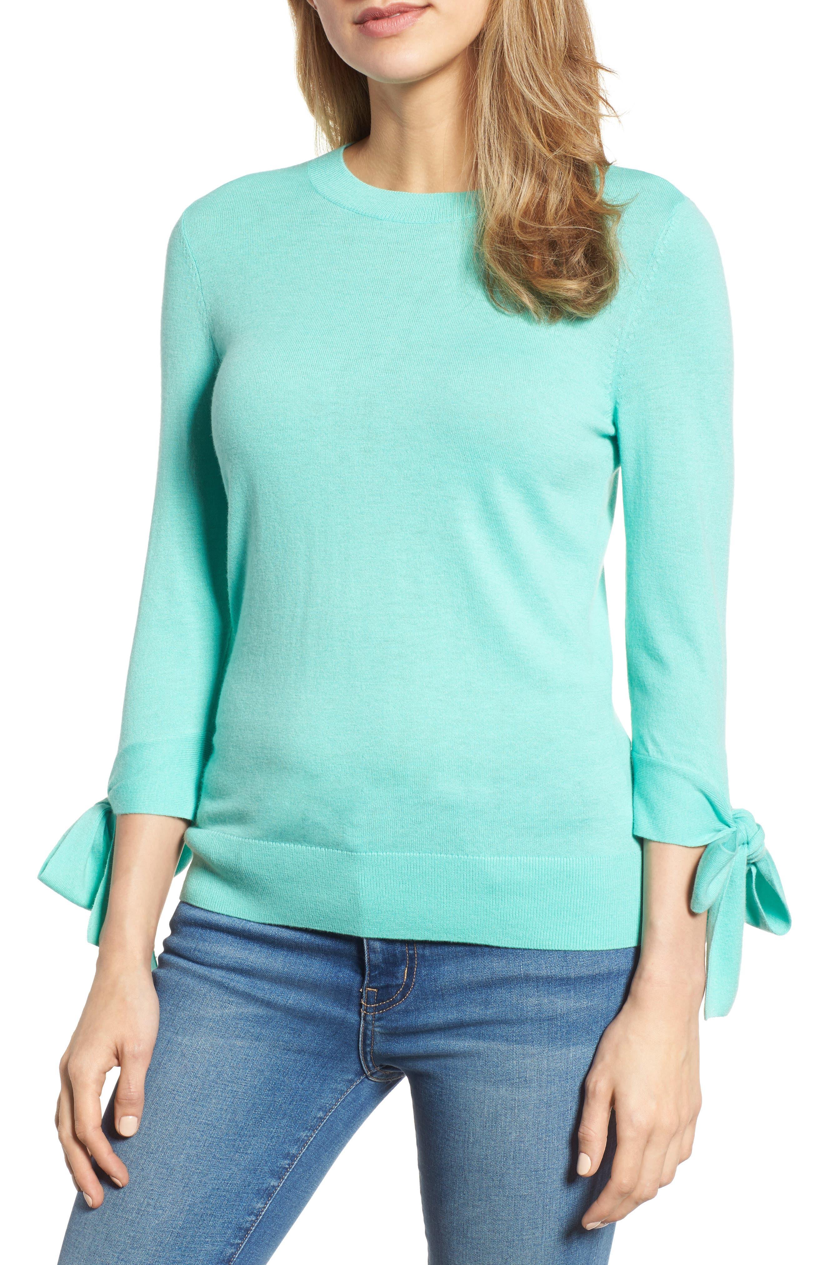 Tie Sleeve Crewneck Sweater,                             Main thumbnail 1, color,                             Green Largo