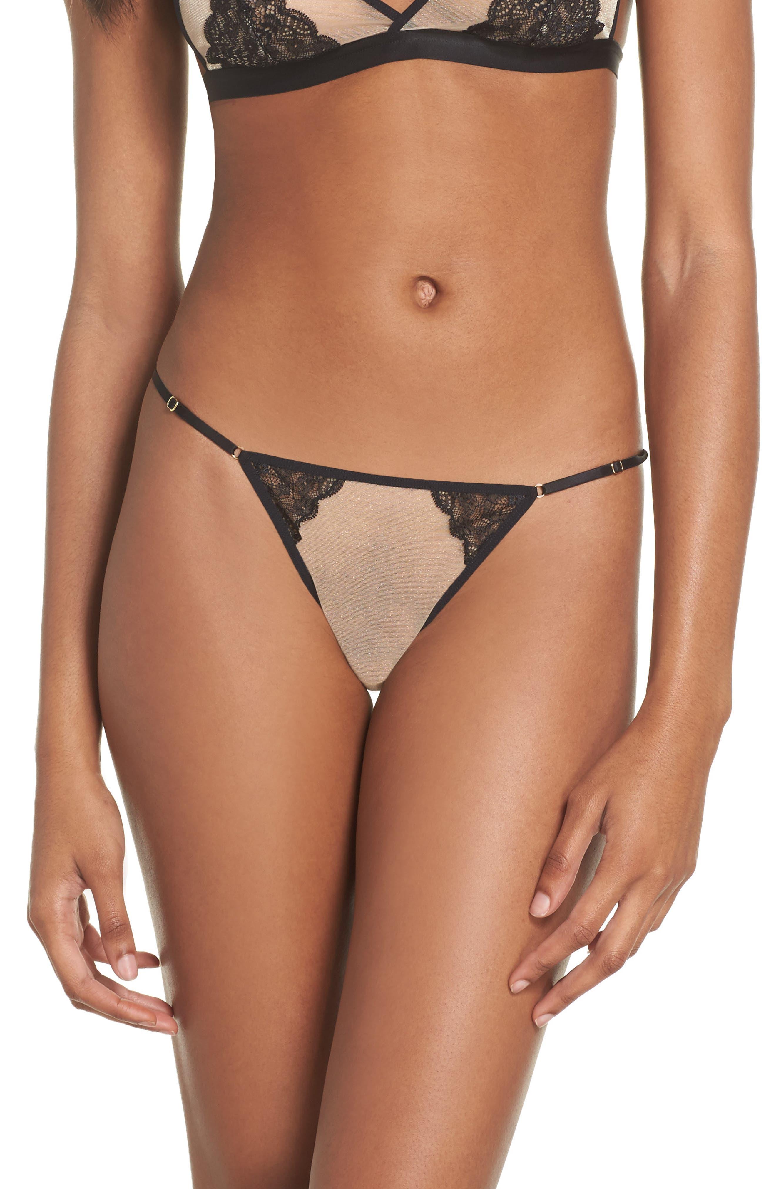 L'Antichambre Mini String Thong,                         Main,                         color, Black / Nude