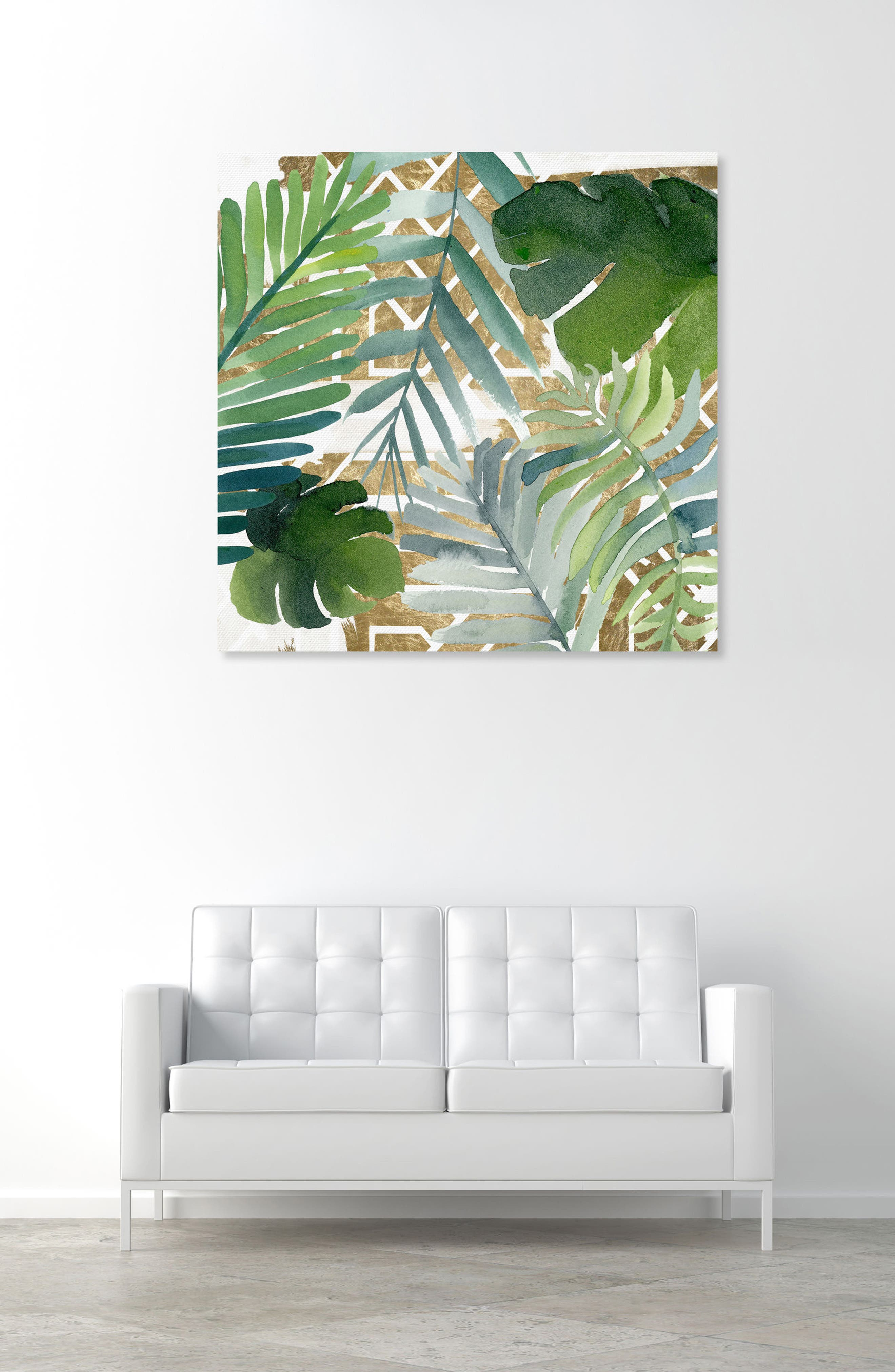 Introspect Palm Leaves Canvas Wall Art,                             Alternate thumbnail 2, color,                             White
