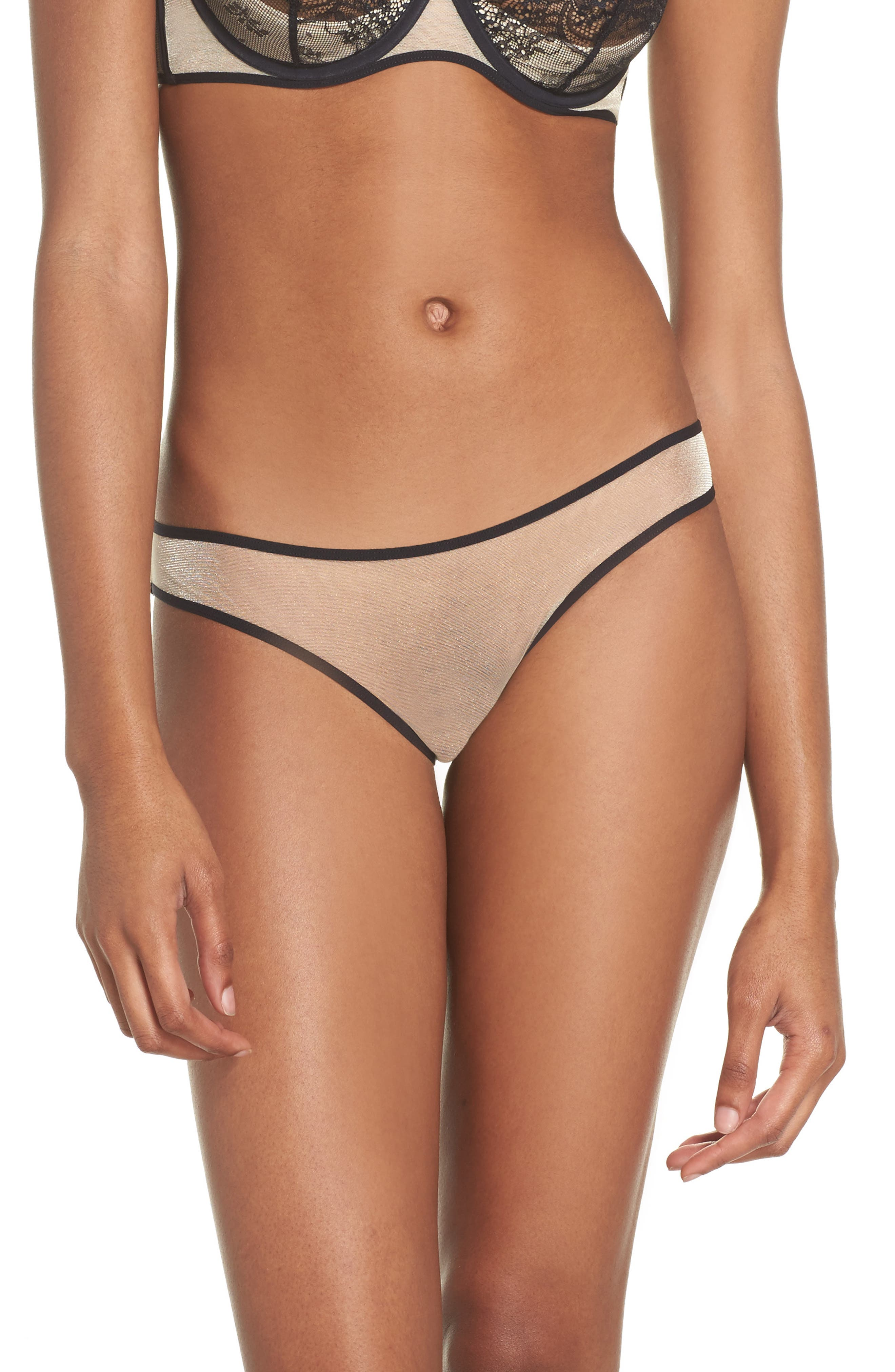 L'Antichambre Sheer Panties,                         Main,                         color, Black / Nude