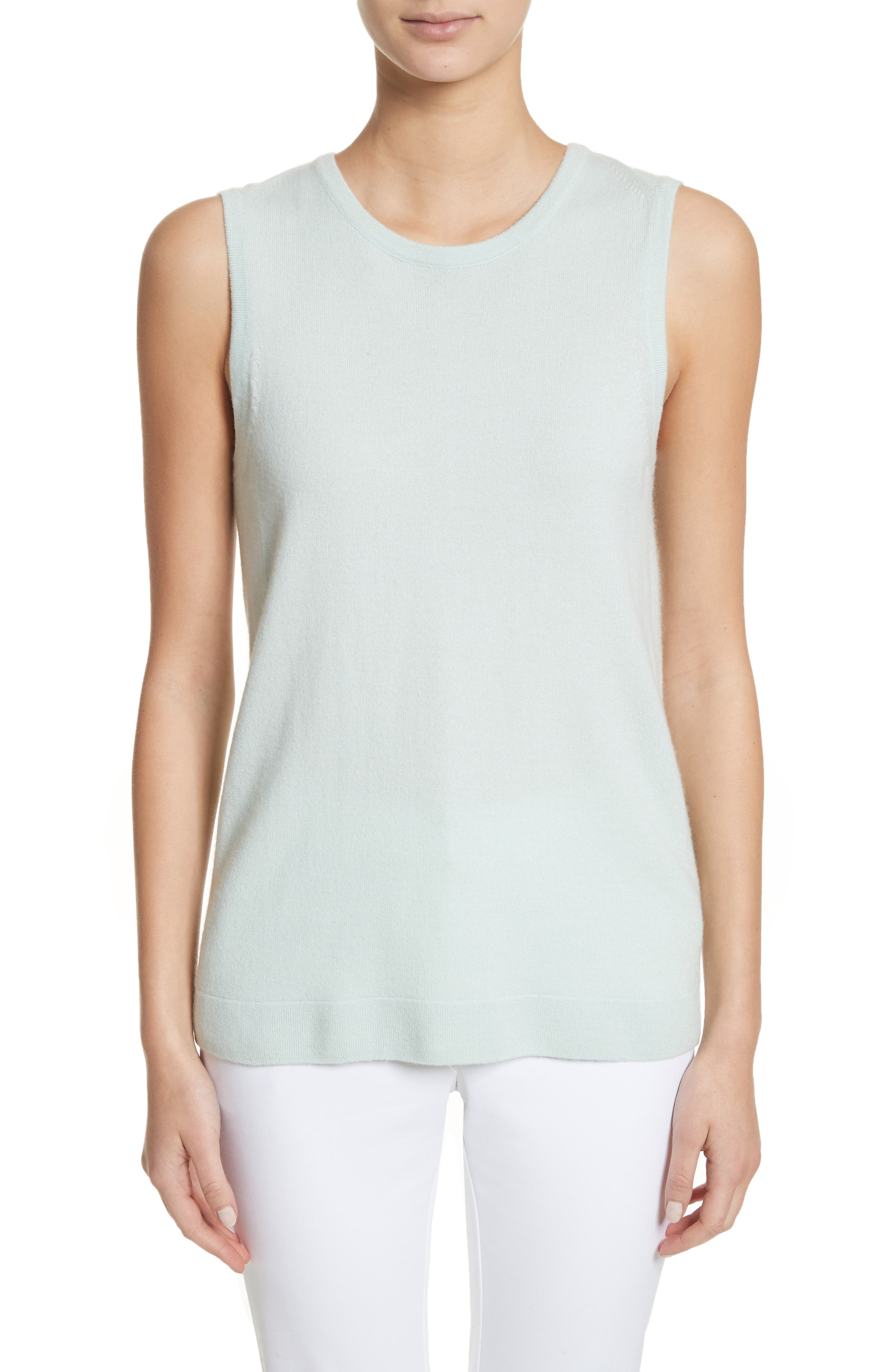 Cashmere Jersey Shell,                         Main,                         color, Mint