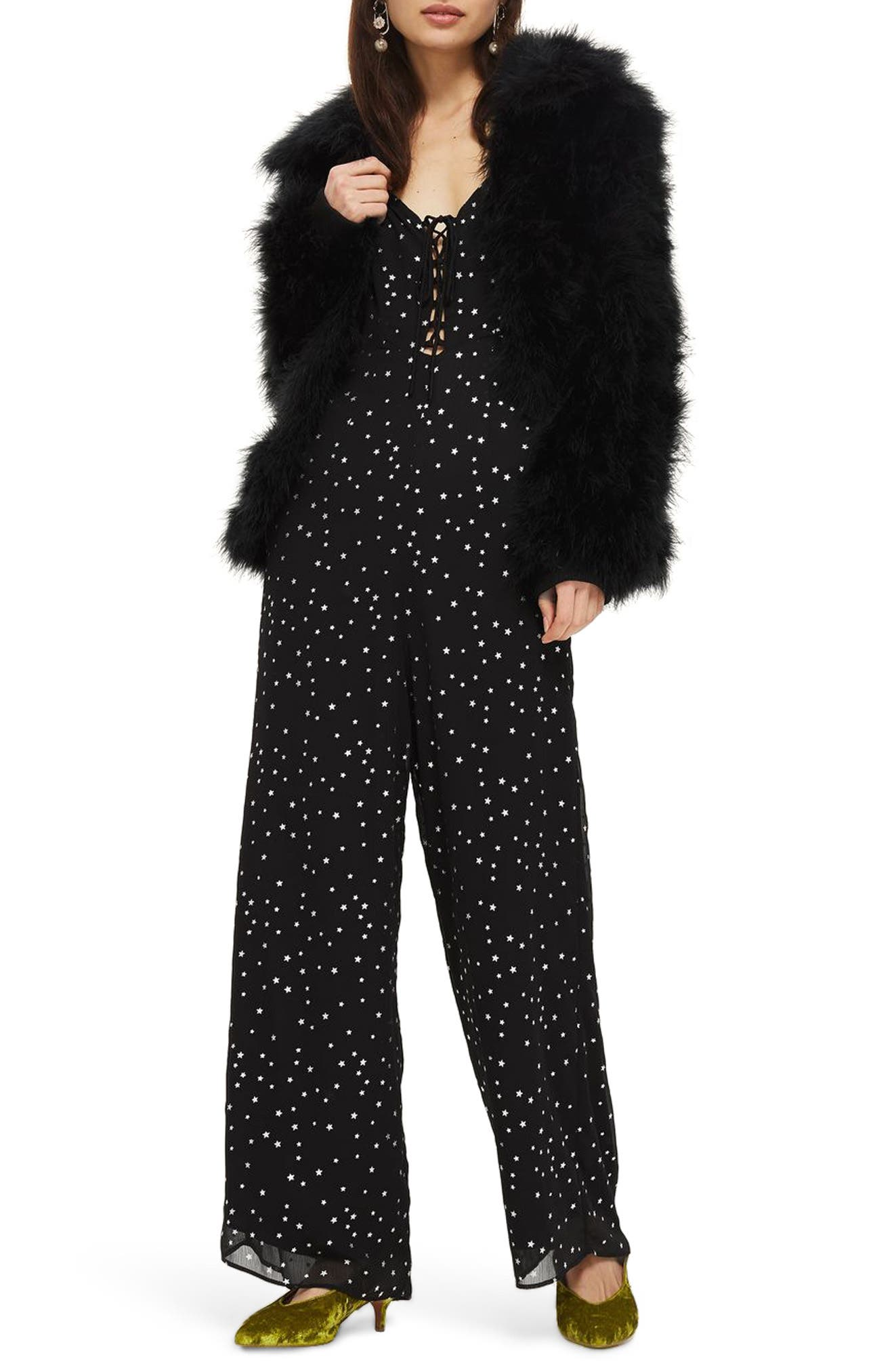 Foil Star Lace-Up Jumpsuit,                         Main,                         color, Black Multi