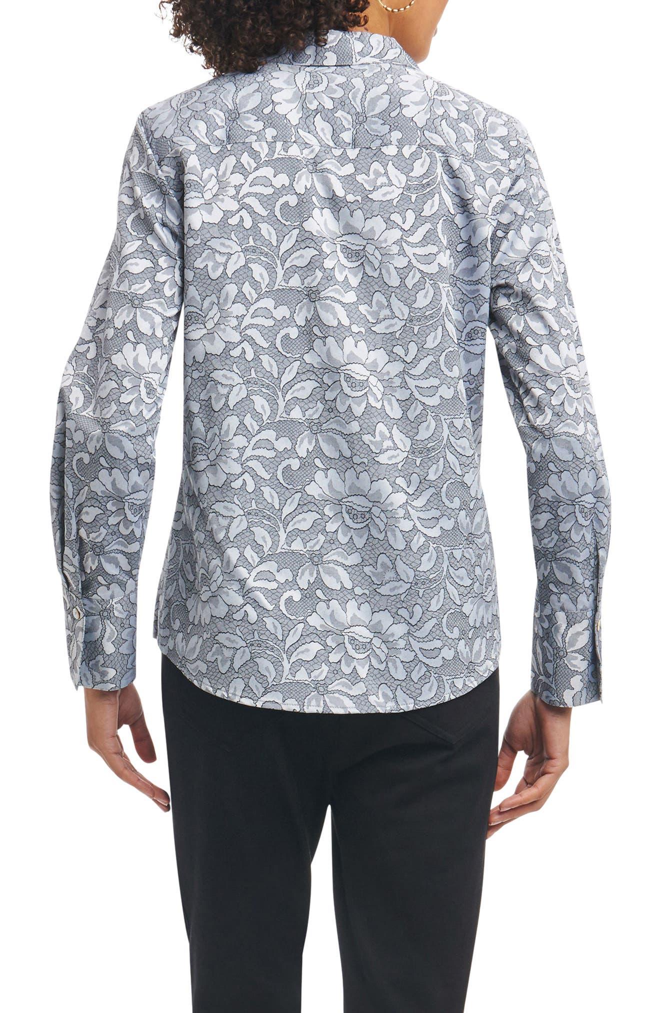 Alternate Image 2  - Foxcroft Rhonda Wrinkle Free Lace Jacquard Shirt