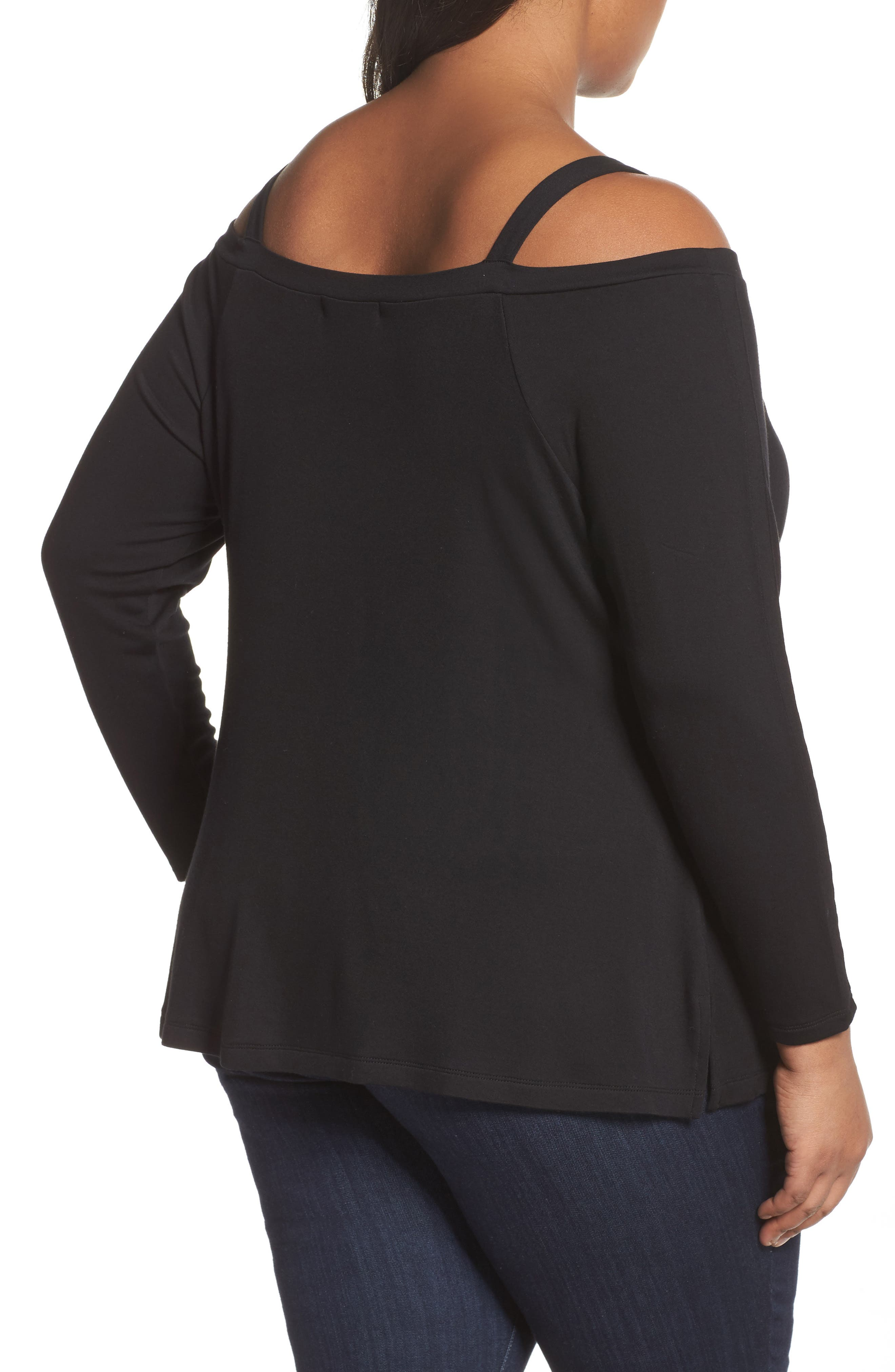 Strappy Long Sleeve Tee,                             Alternate thumbnail 2, color,                             Black