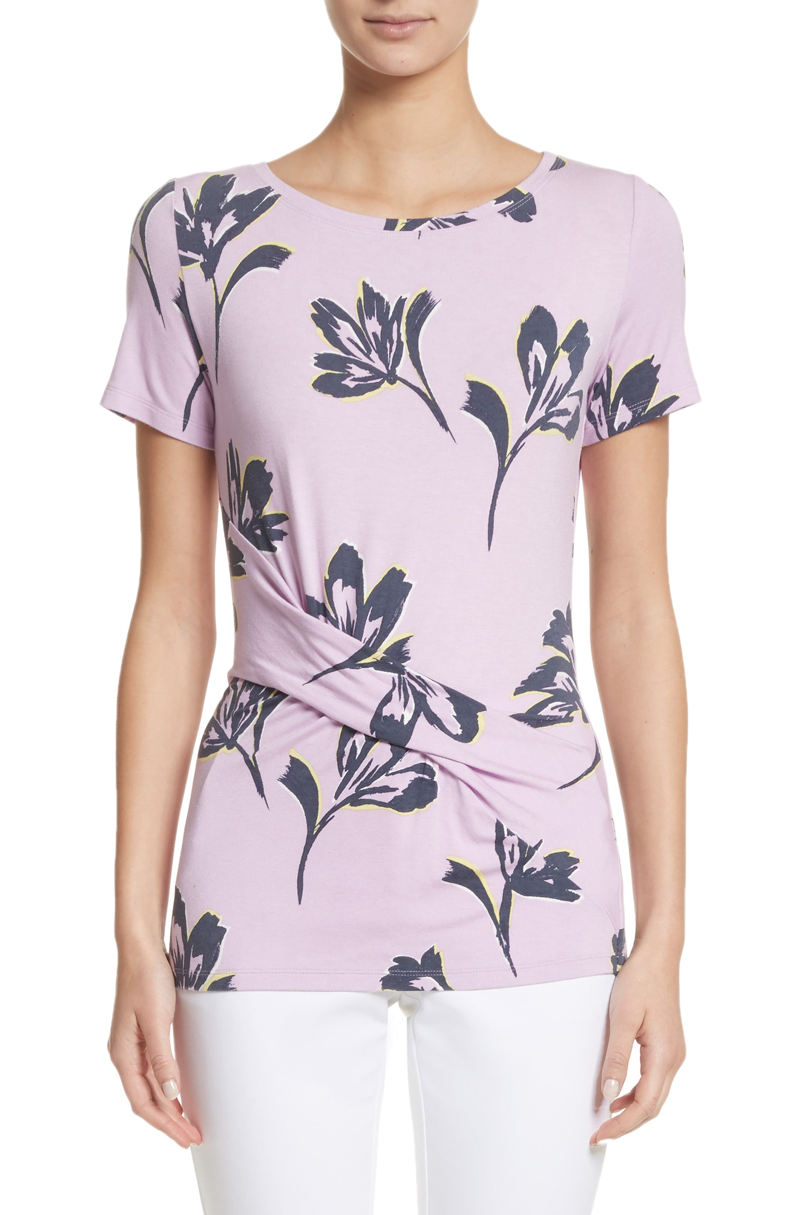 Falling Flower Print Jersey Tee,                         Main,                         color, Orchid Multi
