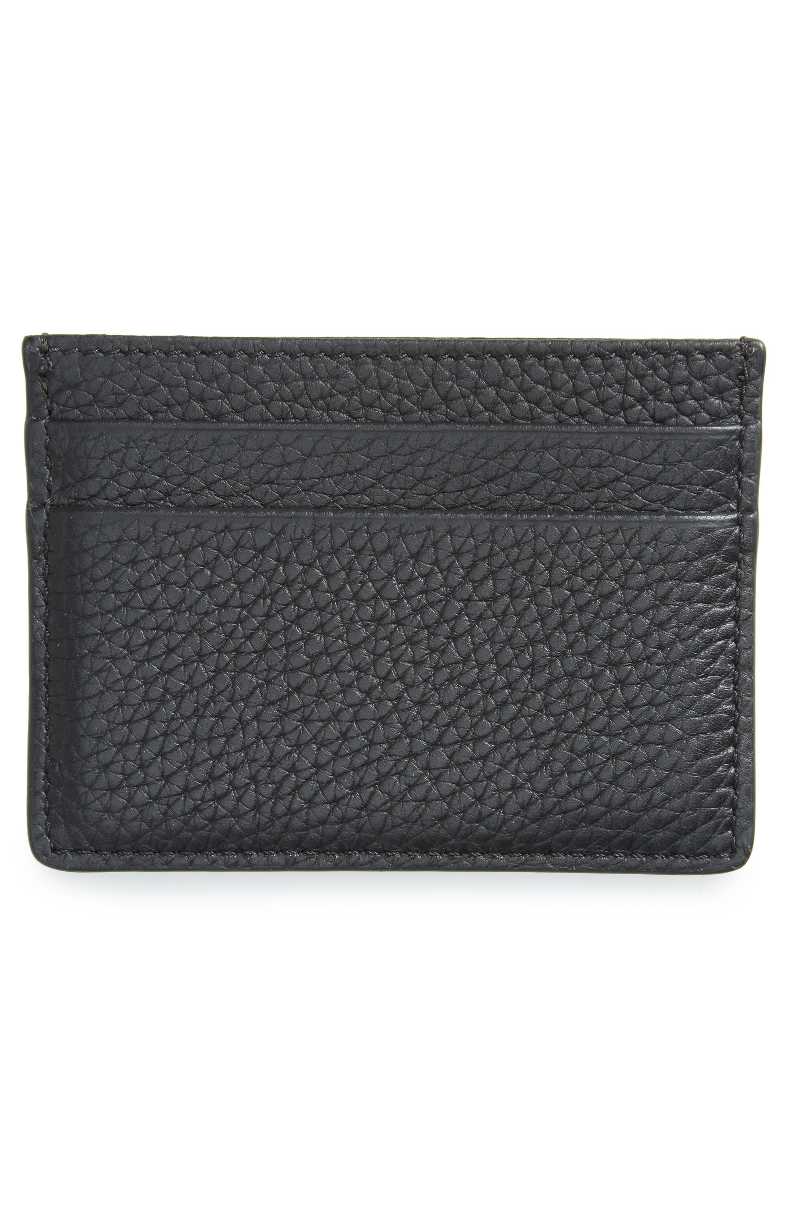 Sandon Leather Card Case,                             Alternate thumbnail 2, color,                             Black