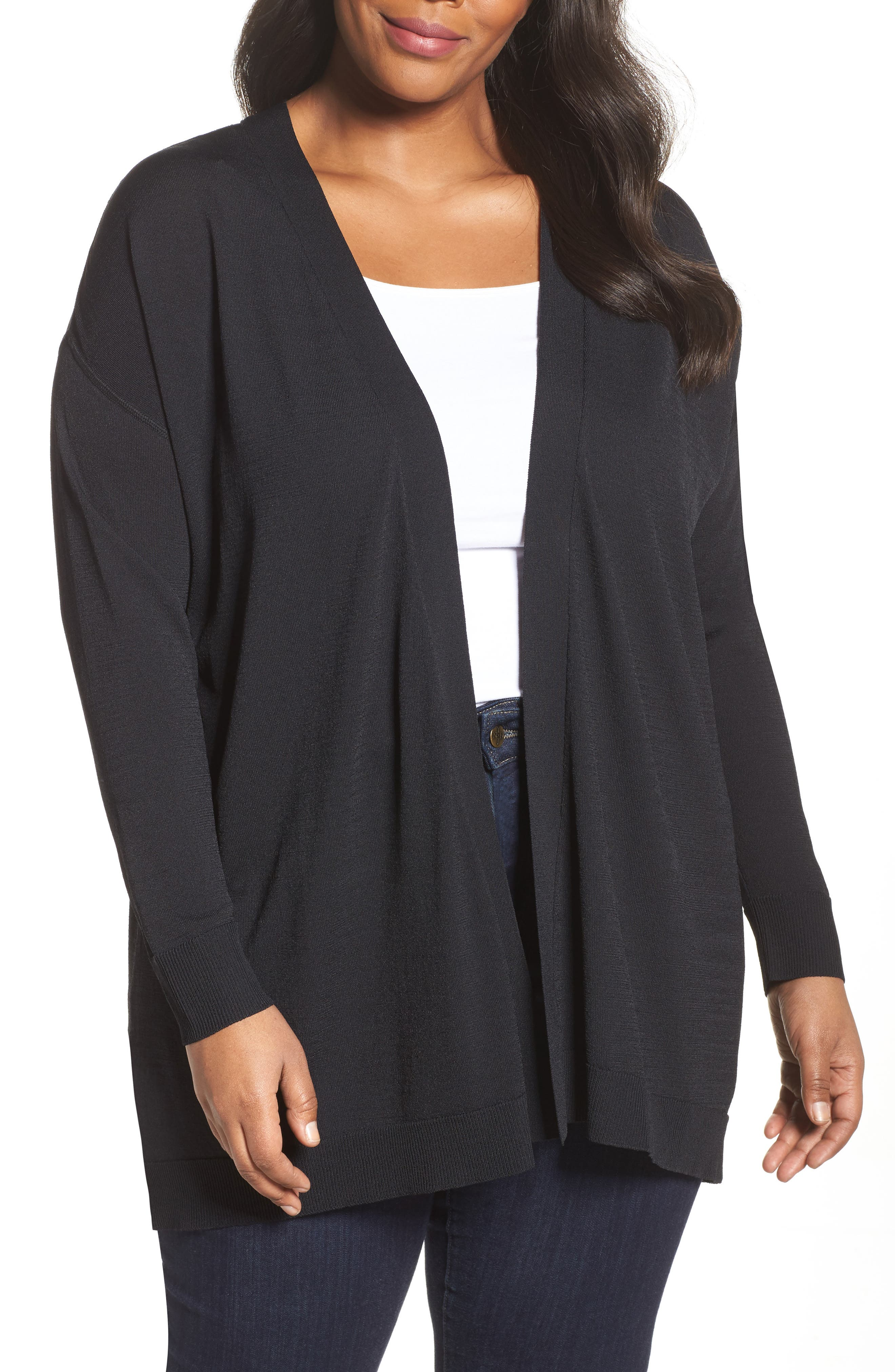Mixed Media Open Cardigan,                         Main,                         color, Black