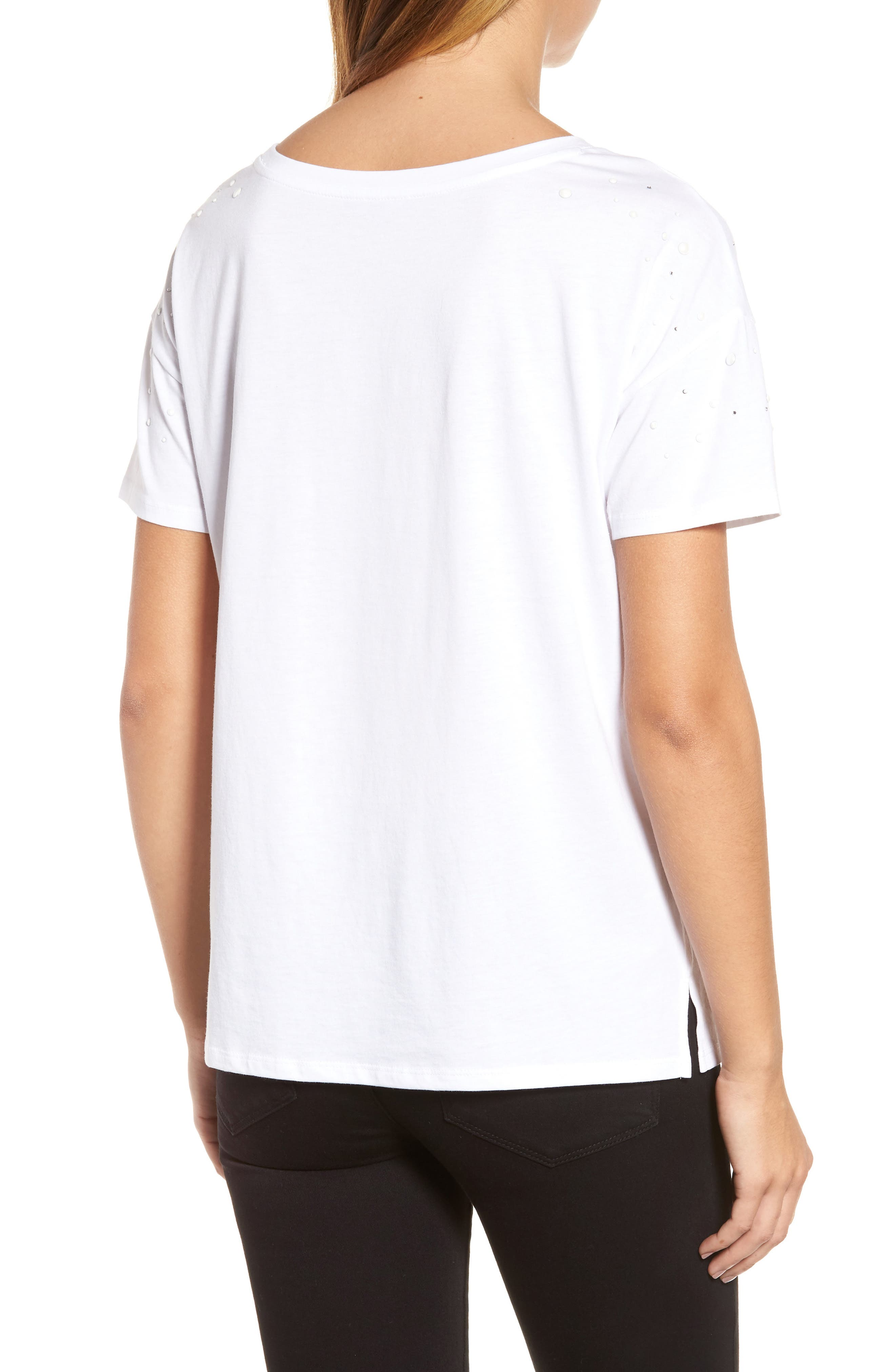 Short Sleeve Pearly T-Shirt,                             Alternate thumbnail 2, color,                             White W/ White Pearls