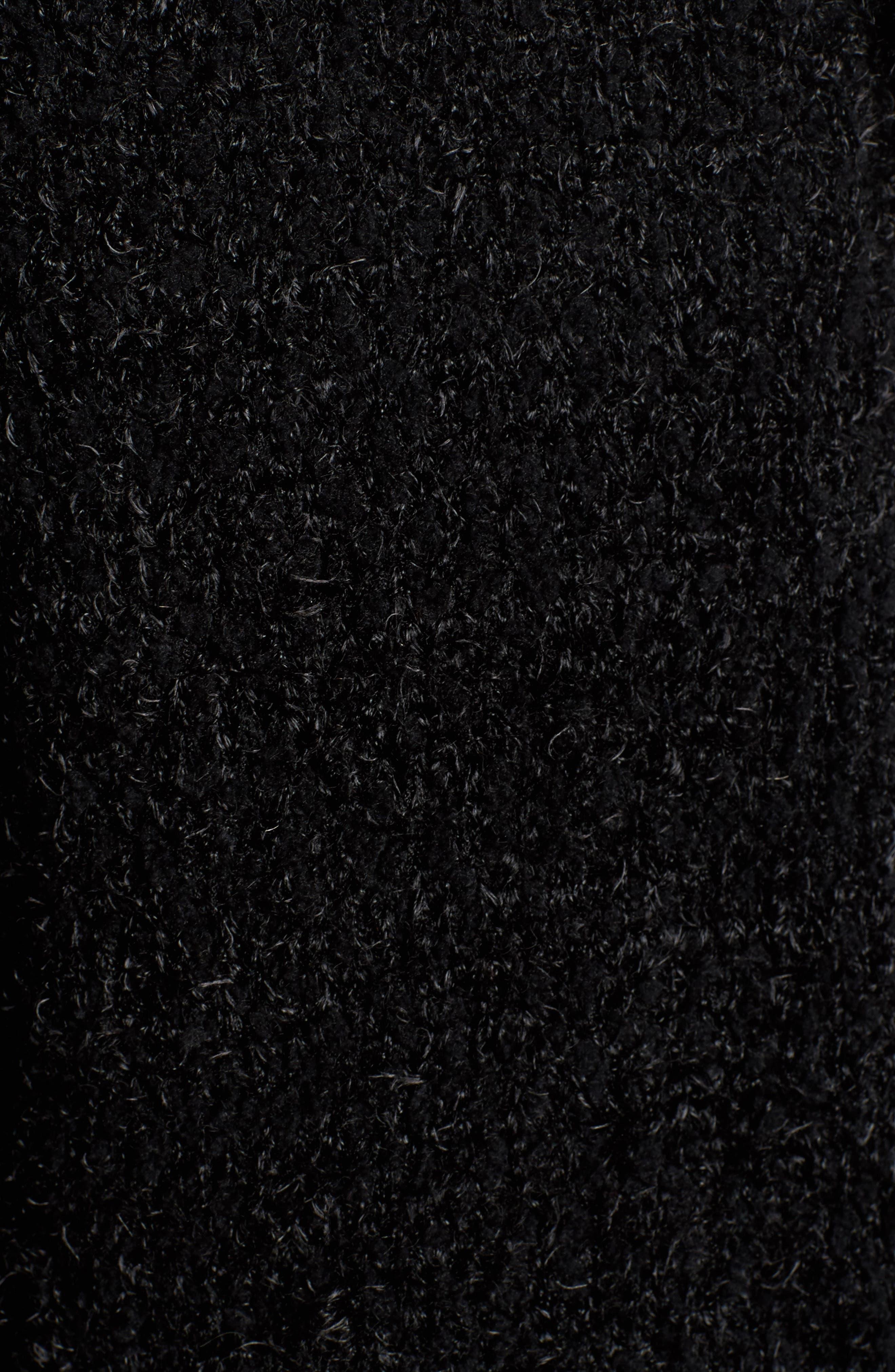 Eyelash Hooded Cardigan,                             Alternate thumbnail 5, color,                             Black
