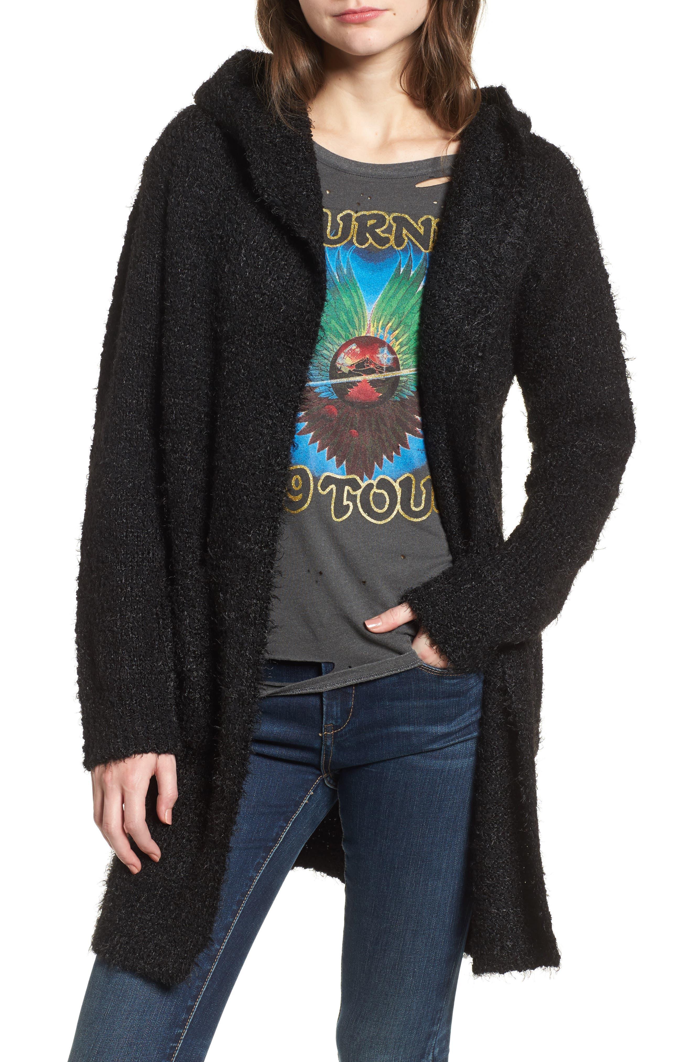 Eyelash Hooded Cardigan,                         Main,                         color, Black