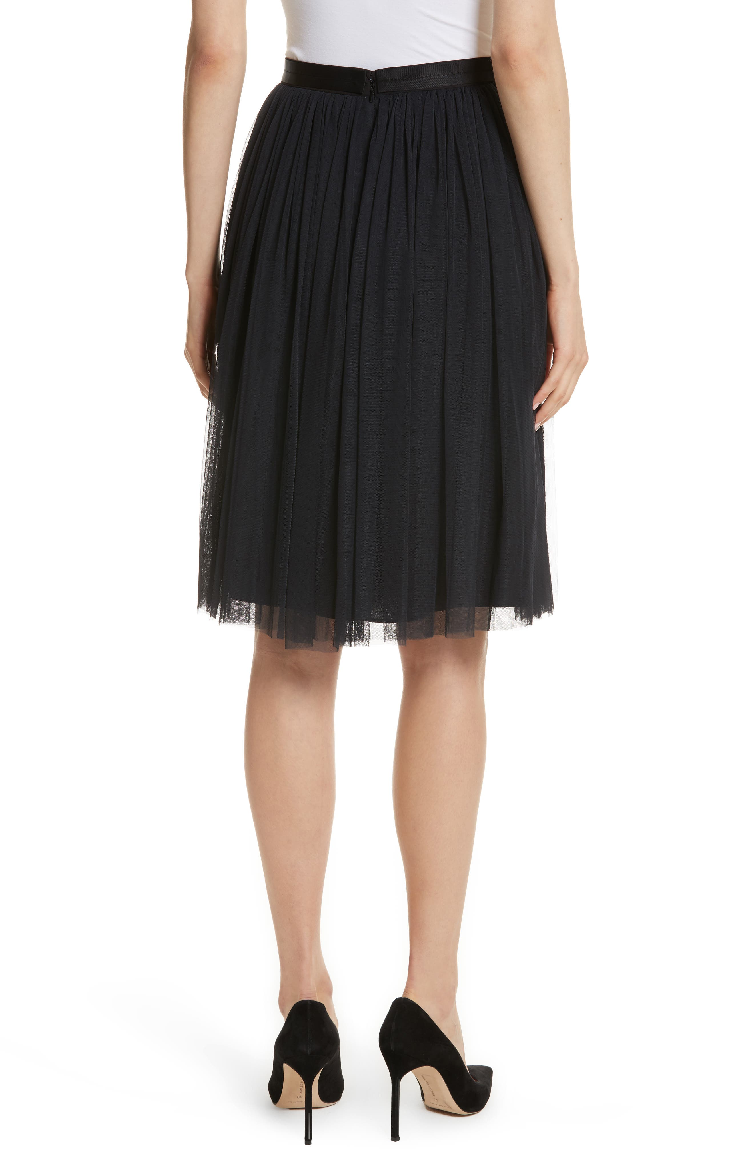 Pleated Tulle Skirt,                             Alternate thumbnail 2, color,                             Washed Black