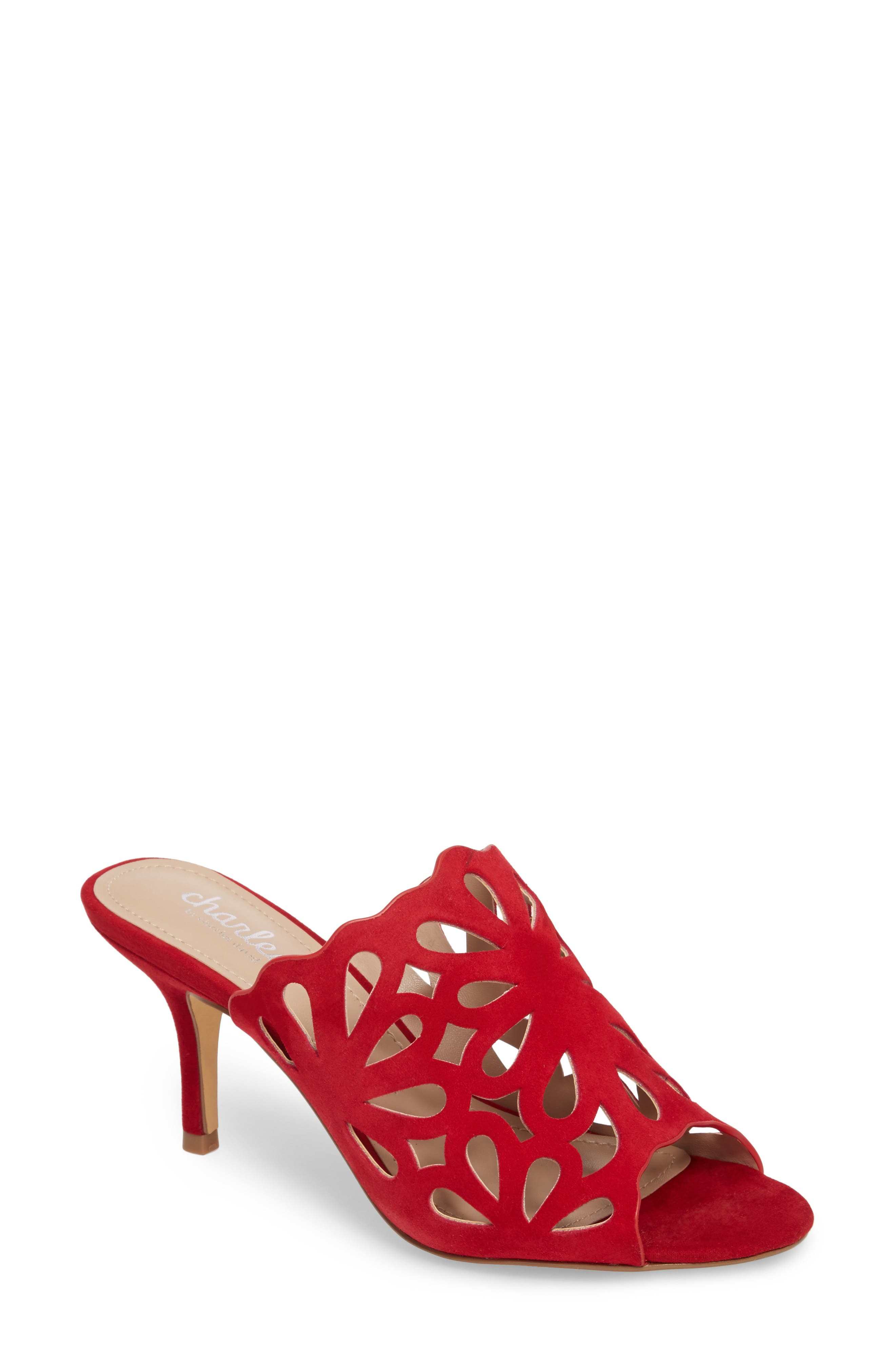 Nicki Perforated Open Toe Mule,                             Main thumbnail 1, color,                             Scarlet Suede