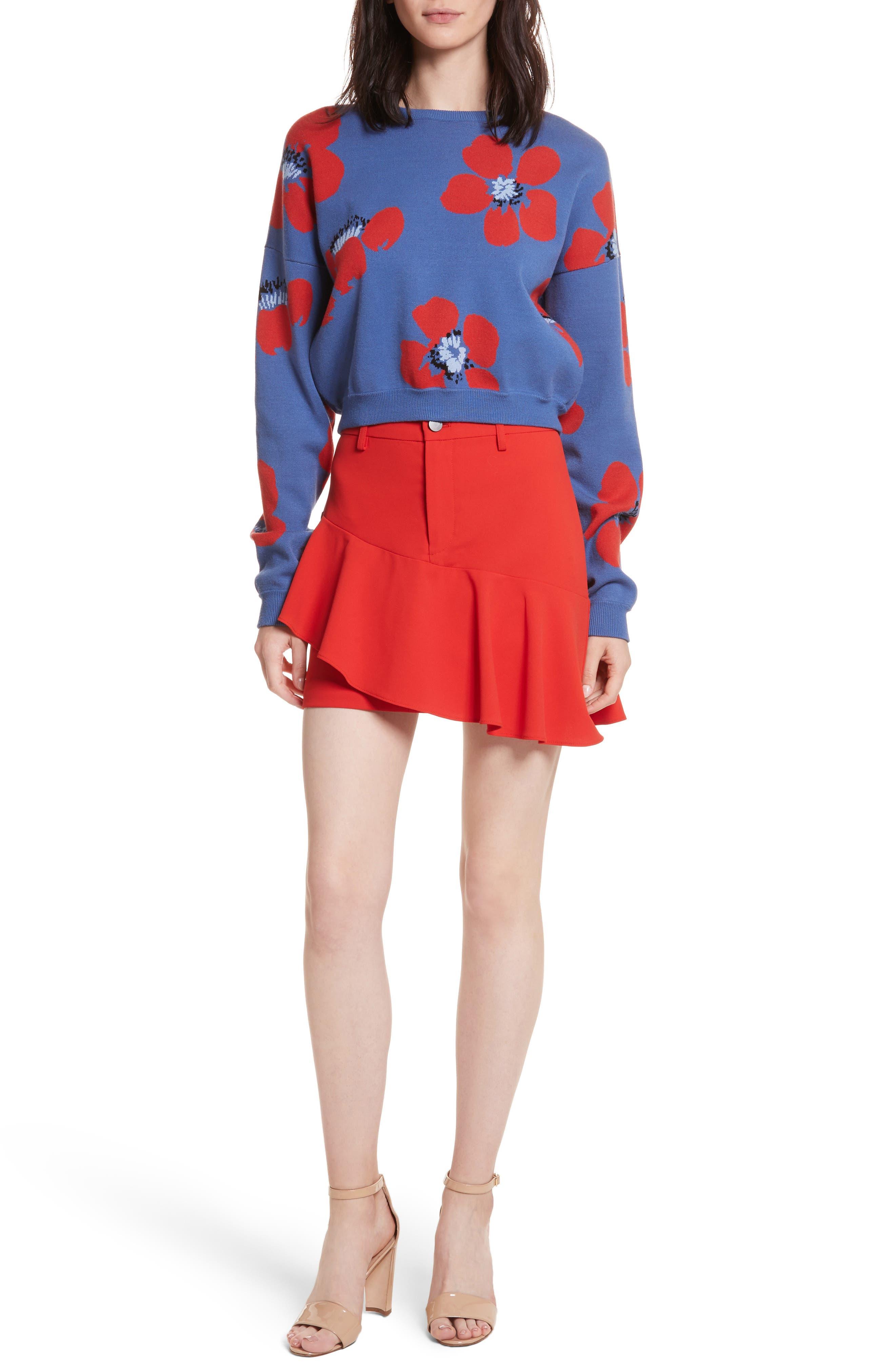 Leena Floral Crop Sweatshirt,                             Alternate thumbnail 7, color,                             Blue Quartz Multi