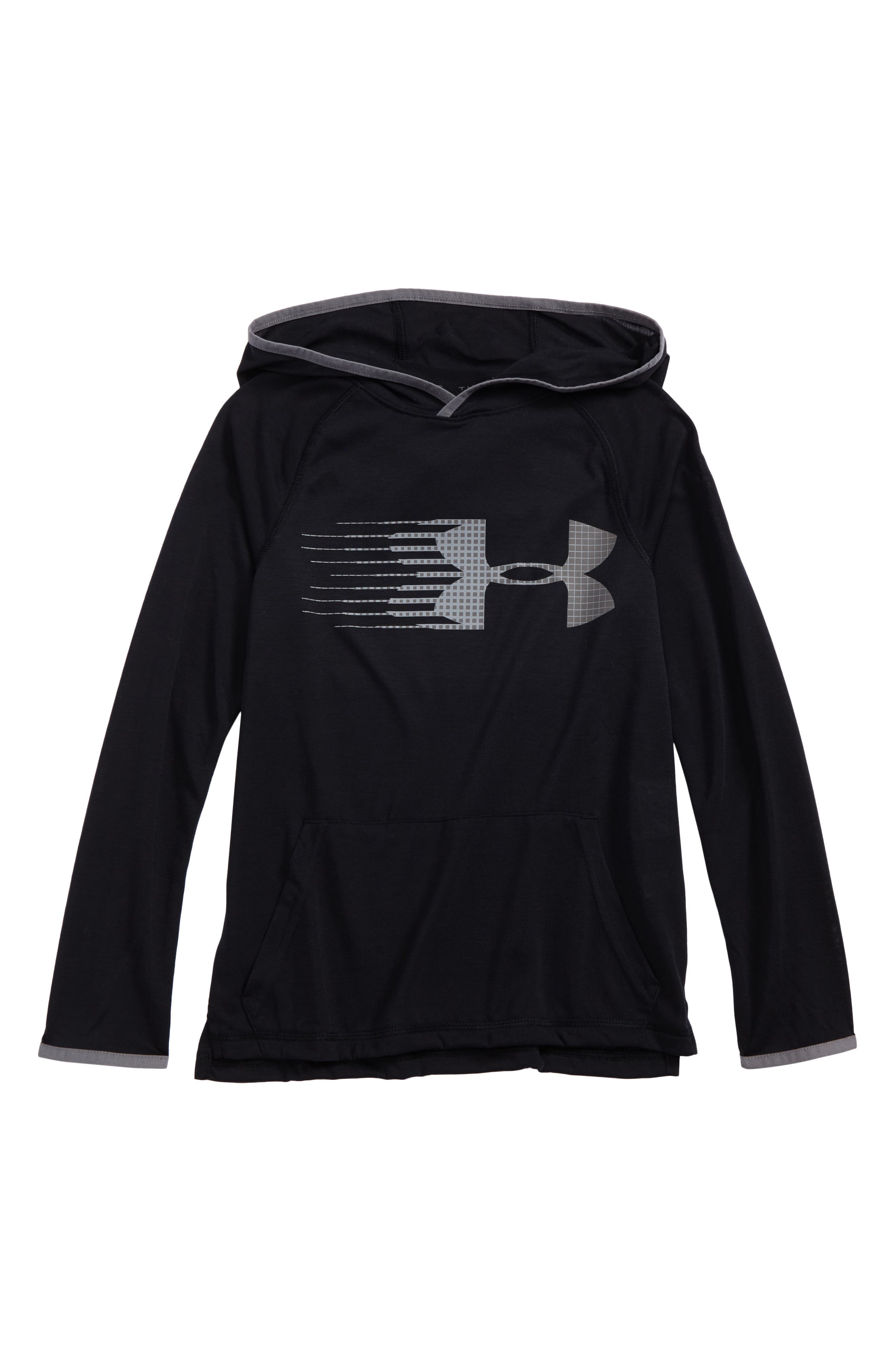 Threadborne HeatGear<sup>®</sup> Pullover Hoodie,                             Main thumbnail 1, color,                             Black/ Graphite