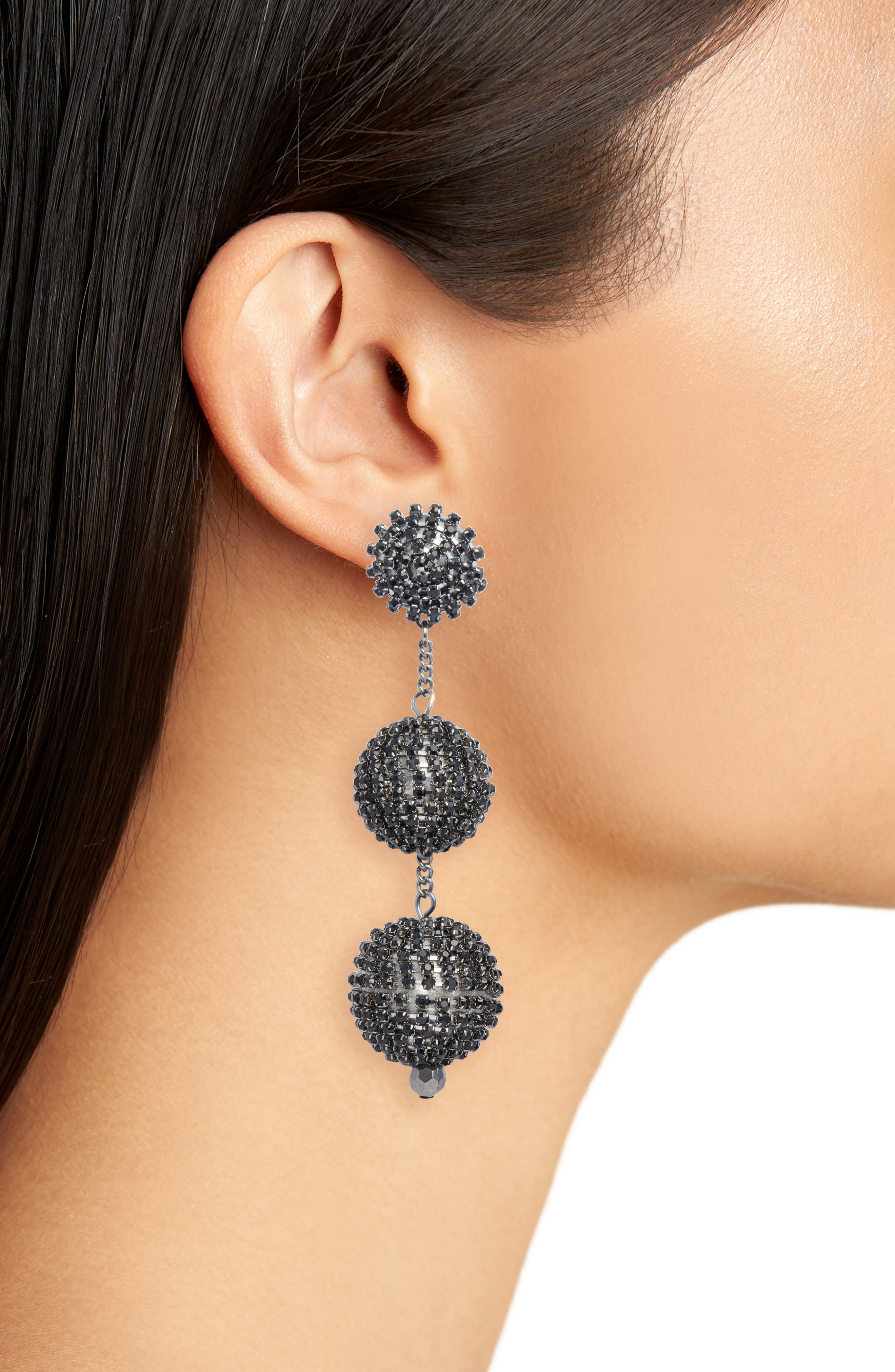 Crystal Ball Drop Earrings,                             Alternate thumbnail 2, color,                             Jet