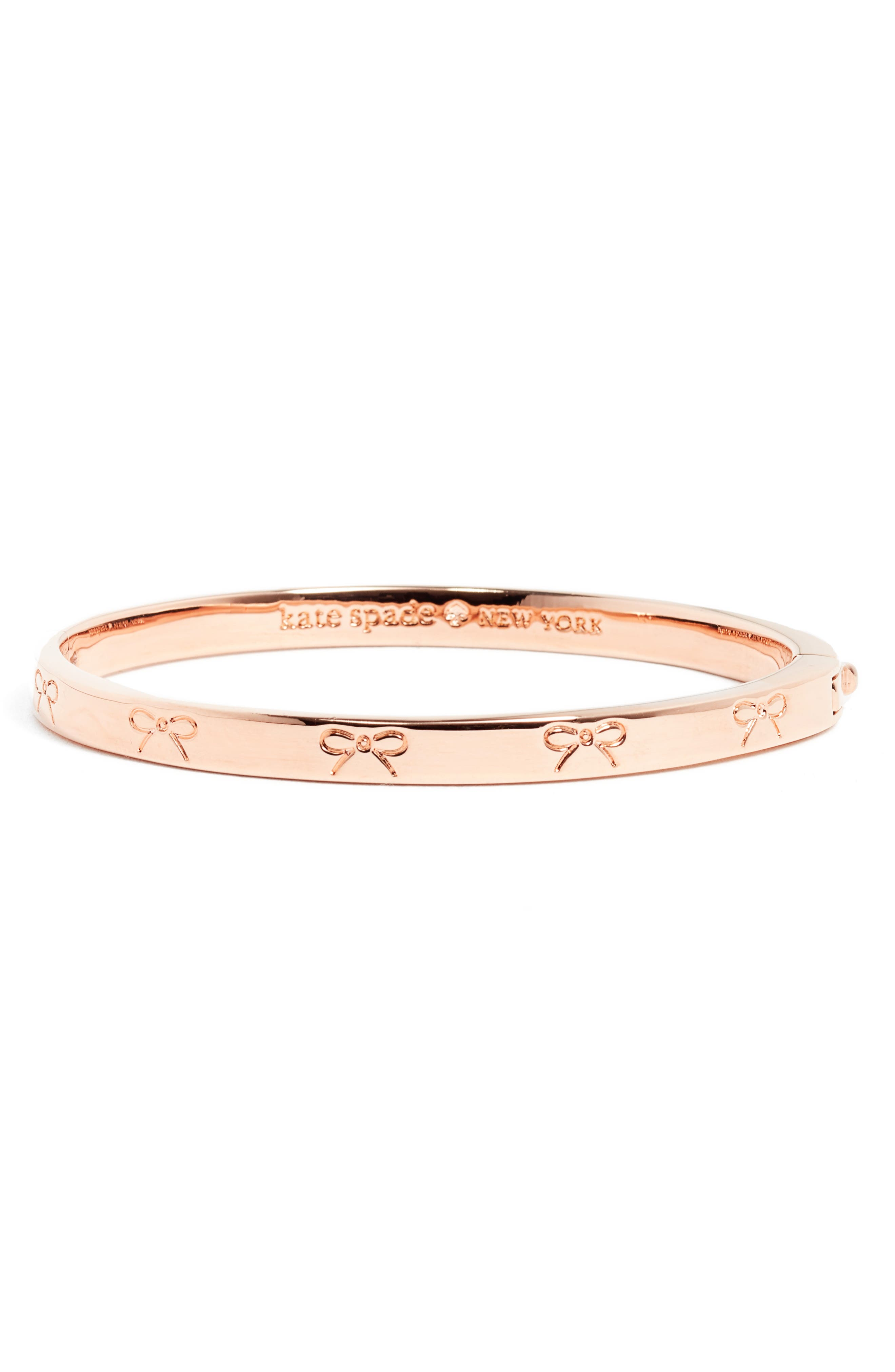 kate spade new york heavy metals engraved bow bangle