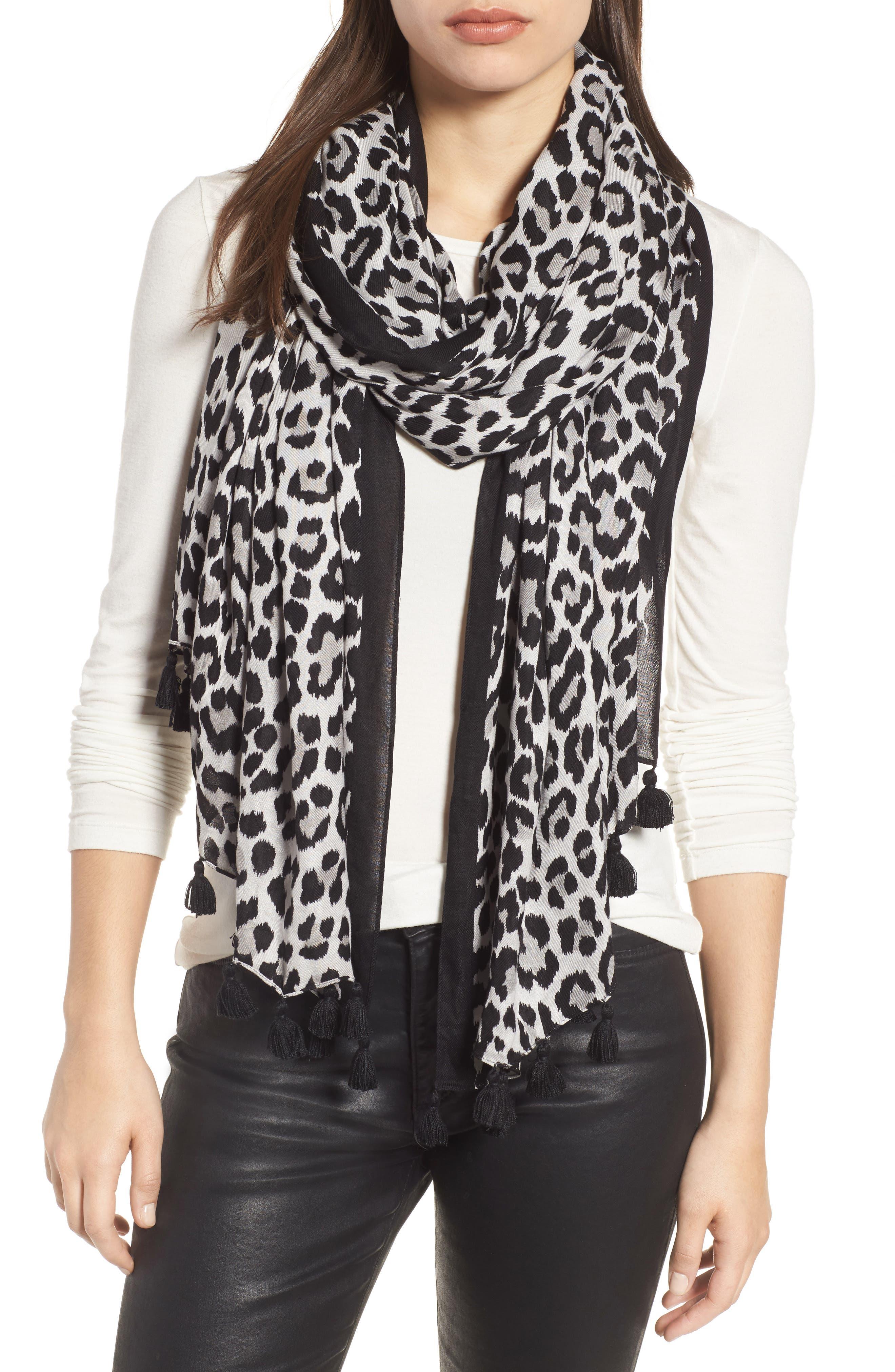 classic leopard print scarf,                         Main,                         color, Grey