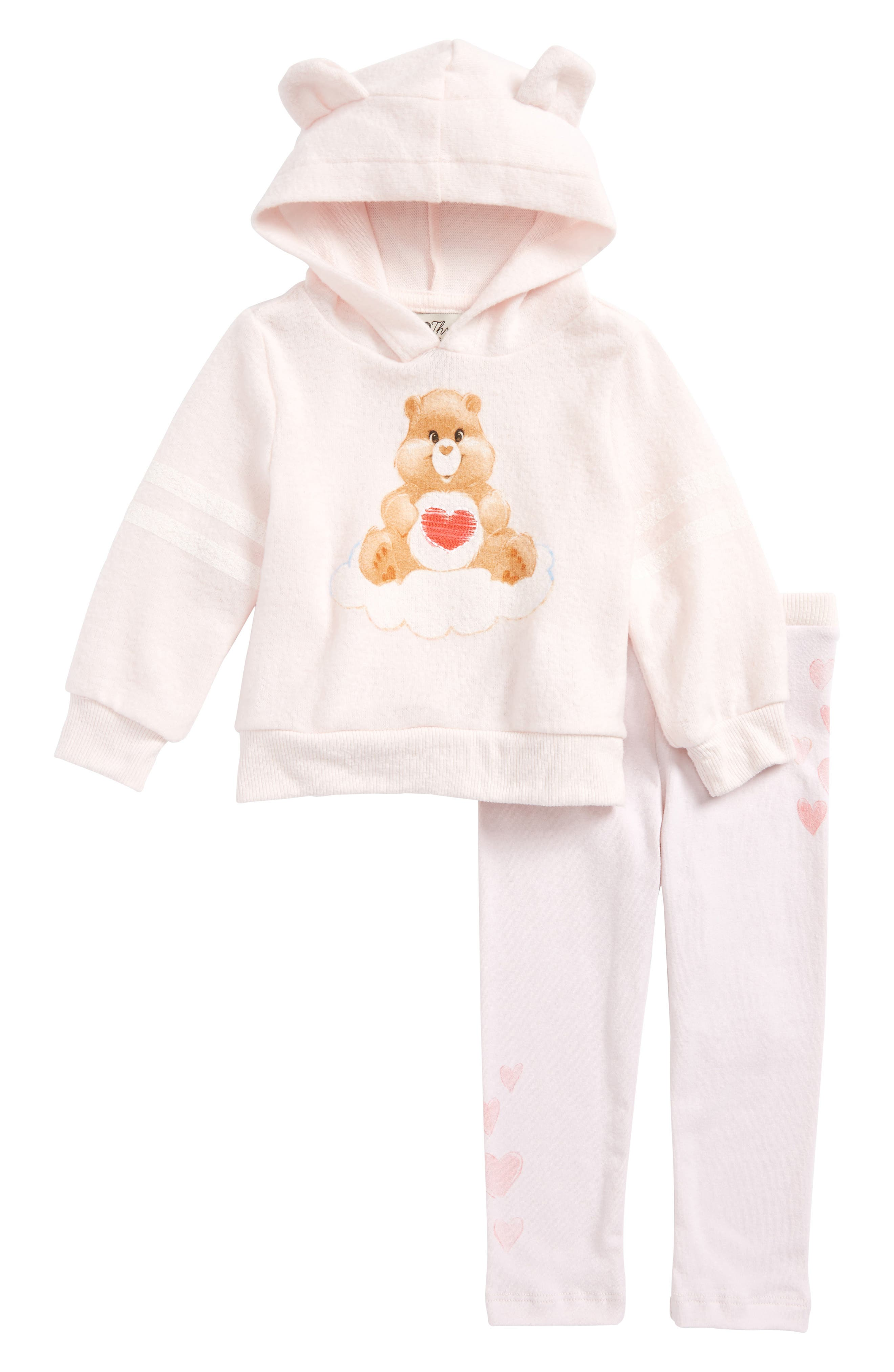 Care Bears<sup>™</sup> by Fine Threads Hoodie & Sweatpants Set,                         Main,                         color, Blush
