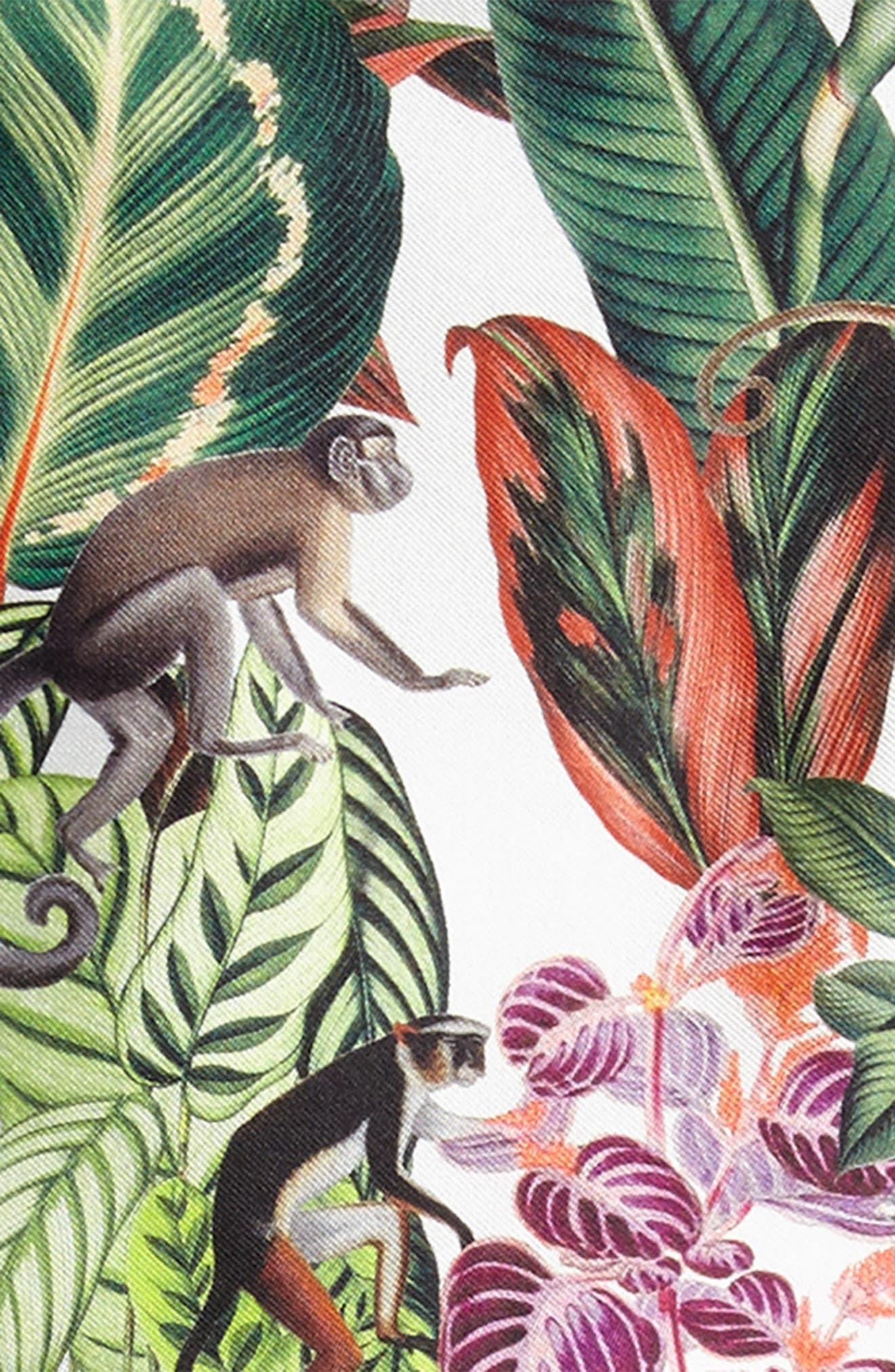 Jungle Monkey Mikado Party Dress,                             Alternate thumbnail 3, color,                             Jungle Green